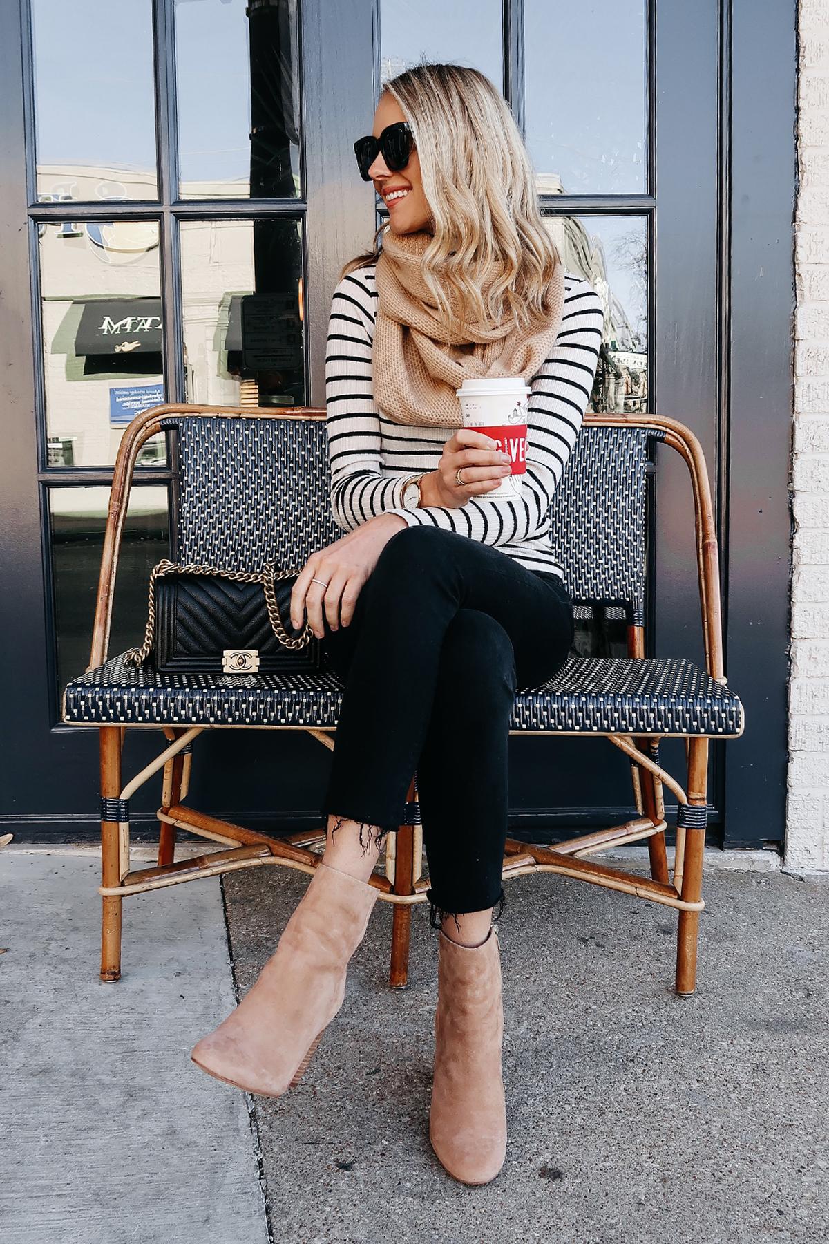 Blonde Woman Wearing Black White Stripe Top Tan Scarf Black Ripped Skinny Jeans Tan Booties Chanel Boy Bag Outfit Starbucks Coffee Fashion Jackson Dallas Blogger Fashion Blogger