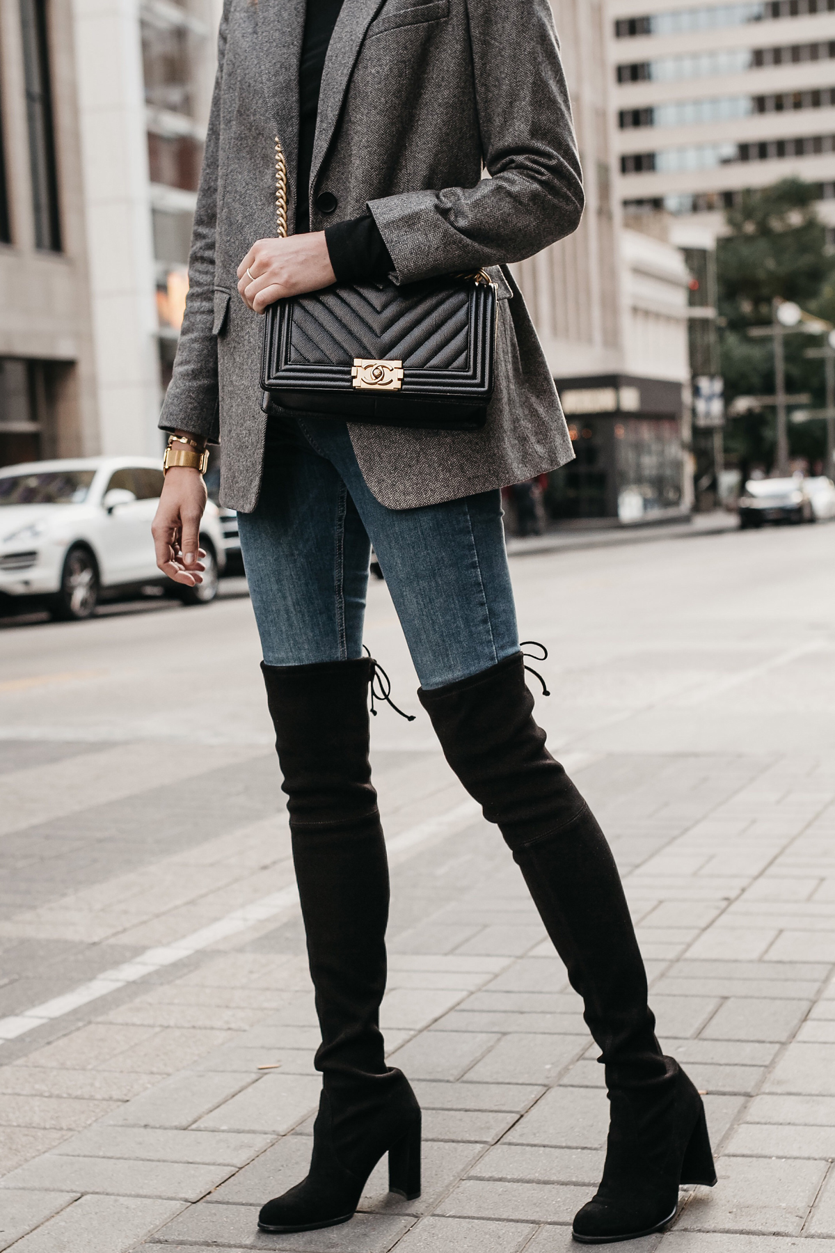 Stuart Weitzman Over the Knee Black Boots Denim Jeans Grey Blazer Chanel Black Boy Bag Fashion Jackson Dallas Blogger Fashion Blogger Street Style