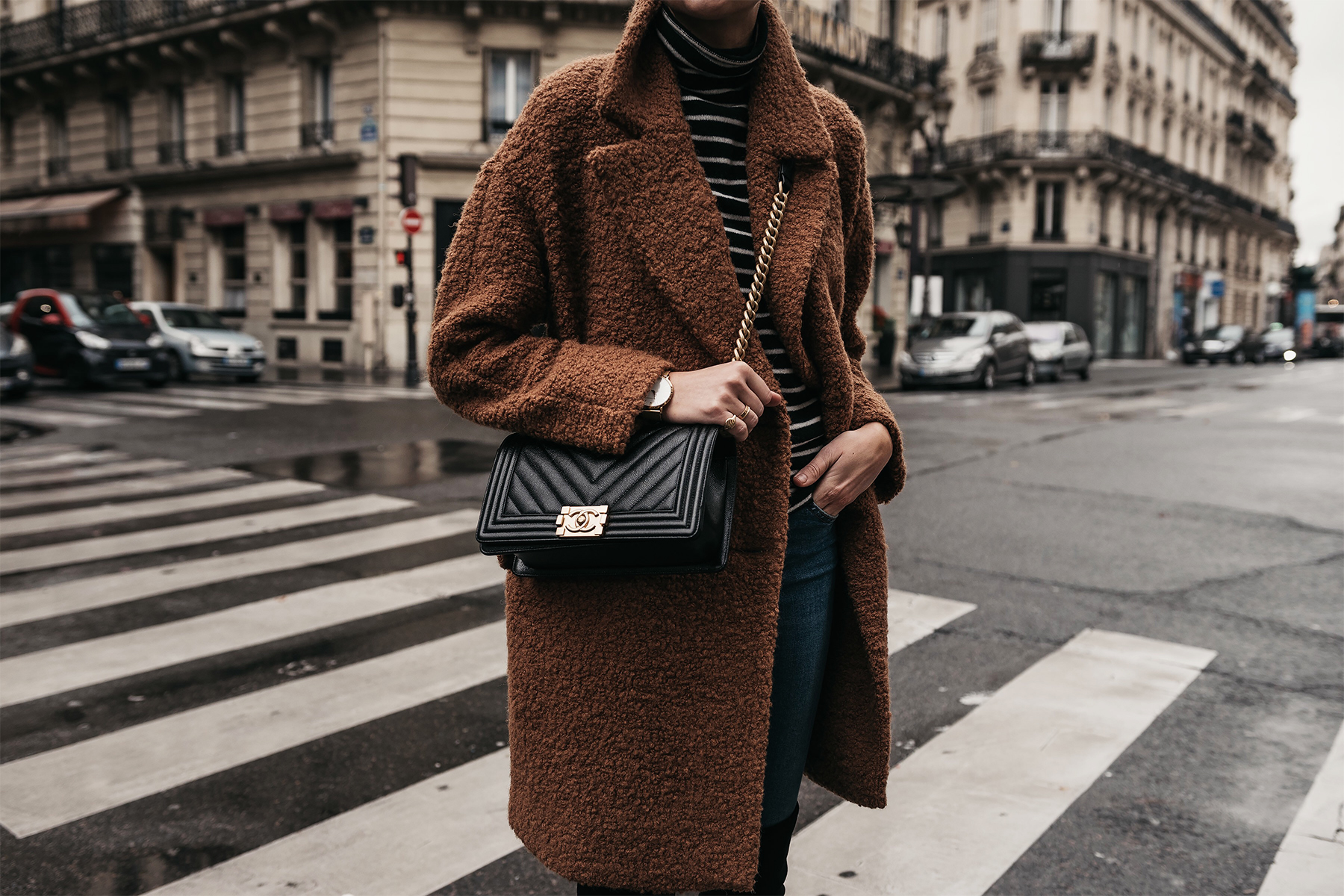Teddy Bear Coat Black White Stripe Turtleneck Sweater Chanel Boy Bag Paris Street Style Fashion Jackson Dallas Blogger Fashion Blogger Street Style