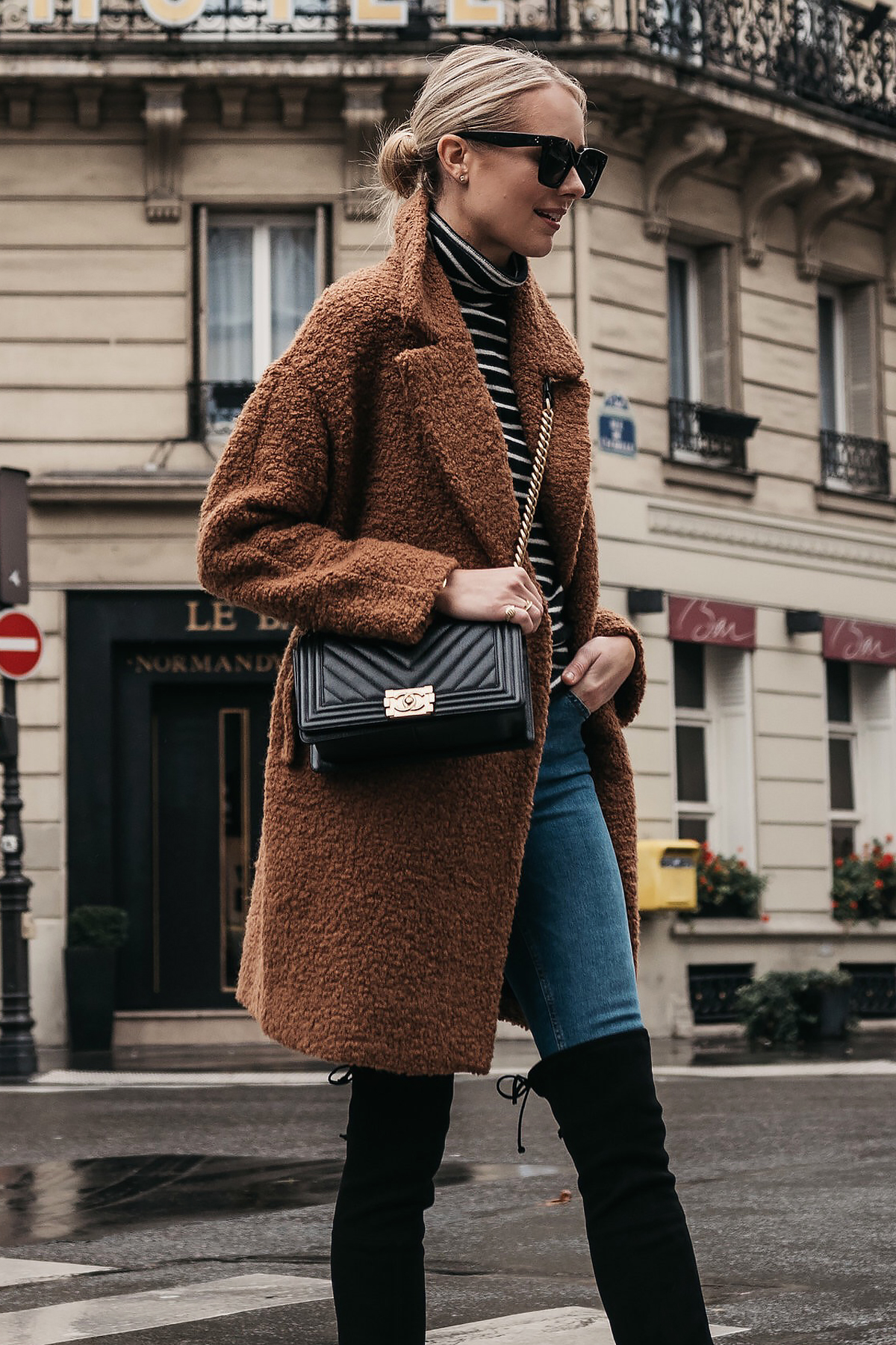 Blonde Woman Wearing Teddy Bear Coat Black White Stripe Turtleneck Sweater Denim Jeans Chanel Boy Bag Paris Street Style Fashion Jackson Dallas Blogger Fashion Blogger Street Style