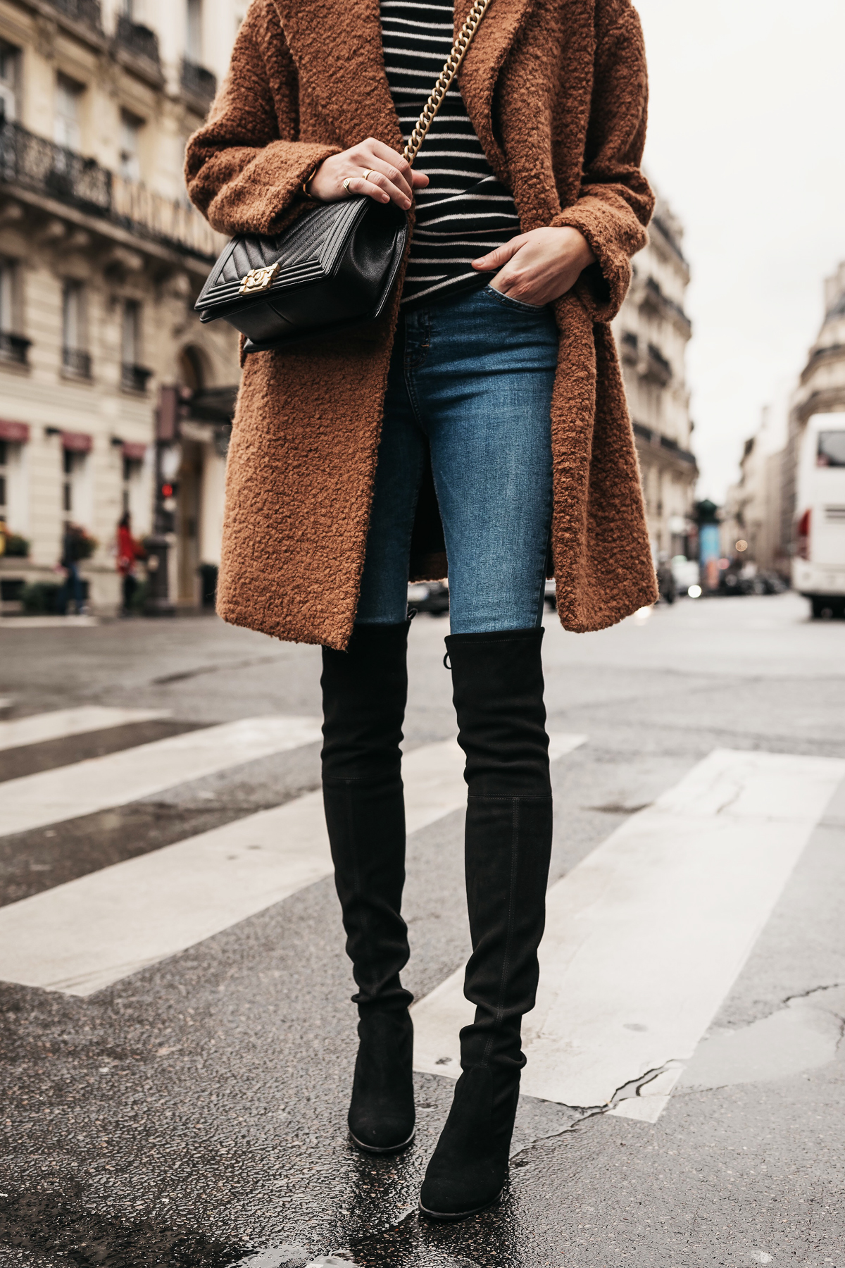 Teddy Bear Coat Black White Stripe Turtleneck Sweater Denim Jeans Stuart Weitzman Black Over-the-Knee Boots Chanel Boy Bag Paris Street Style Fashion Jackson Dallas Blogger Fashion Blogger Street Style