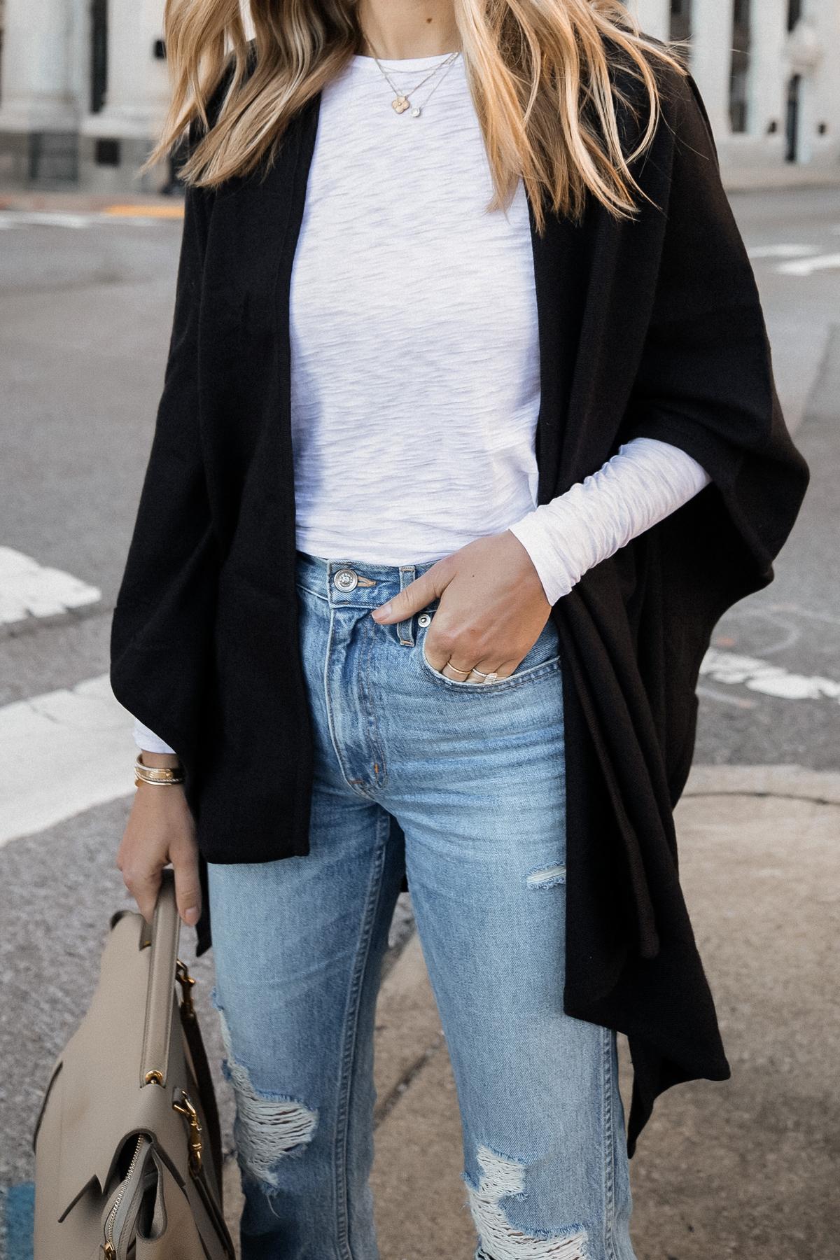 Fashion Jackson Wearing Black Poncho White Long Sleeve Top Ripped Jeans