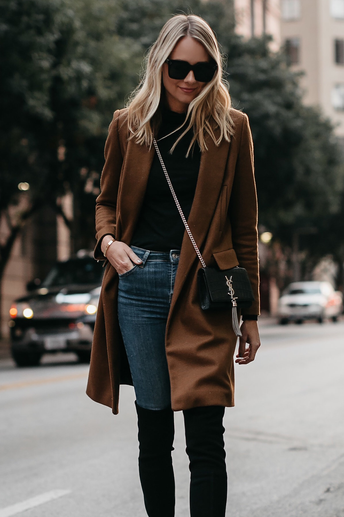 Blonde Woman Wearing Zara Camel Wool Coat Saint Laurent Monogram Crossbody Fashion Jackson Dallas Blogger Fashion Blogger Street Style
