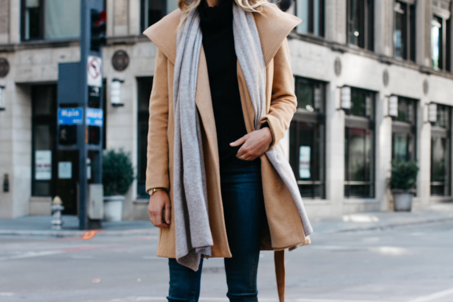ann taylor camel wrap coat grey scarf black turtleneck sweater Fashion Jackson Dallas Blogger Fashion Blogger Street Style