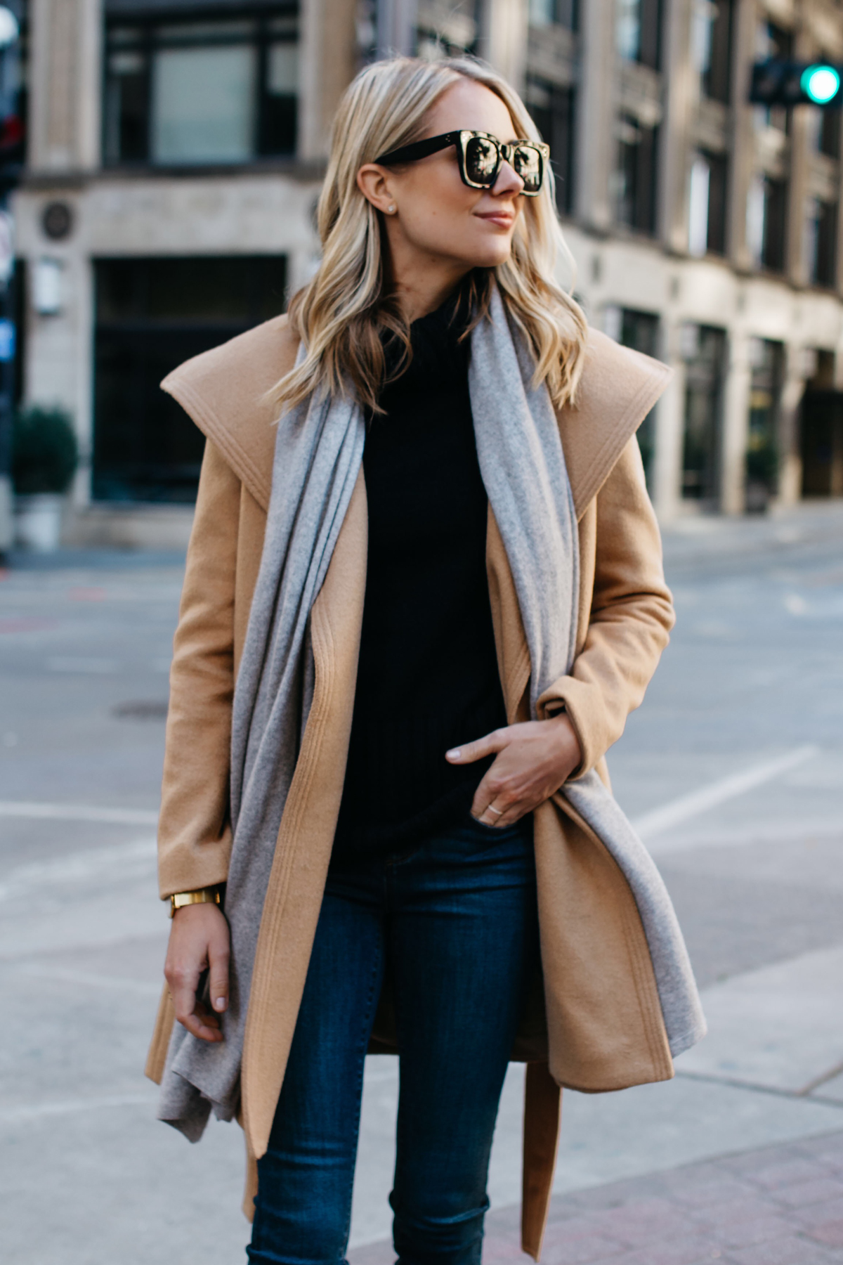 Blonde Woman Wearing ann taylor camel wrap coat grey scarf black turtleneck sweater Fashion Jackson Dallas Blogger Fashion Blogger Street Style