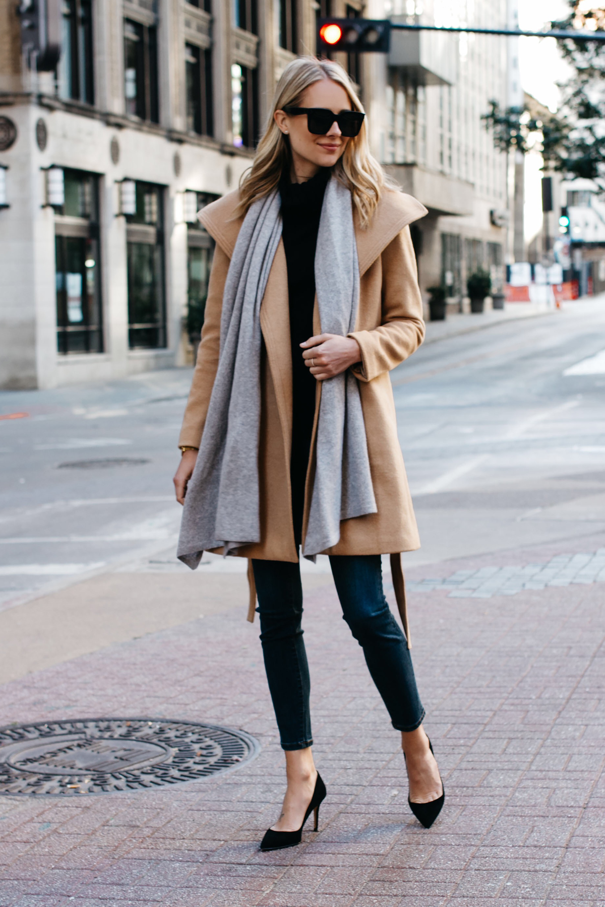 Blonde Woman Wearing ann taylor camel wrap coat grey scarf black turtleneck sweater denim skinny jeans black pumps Fashion Jackson Dallas Blogger Fashion Blogger Street Style