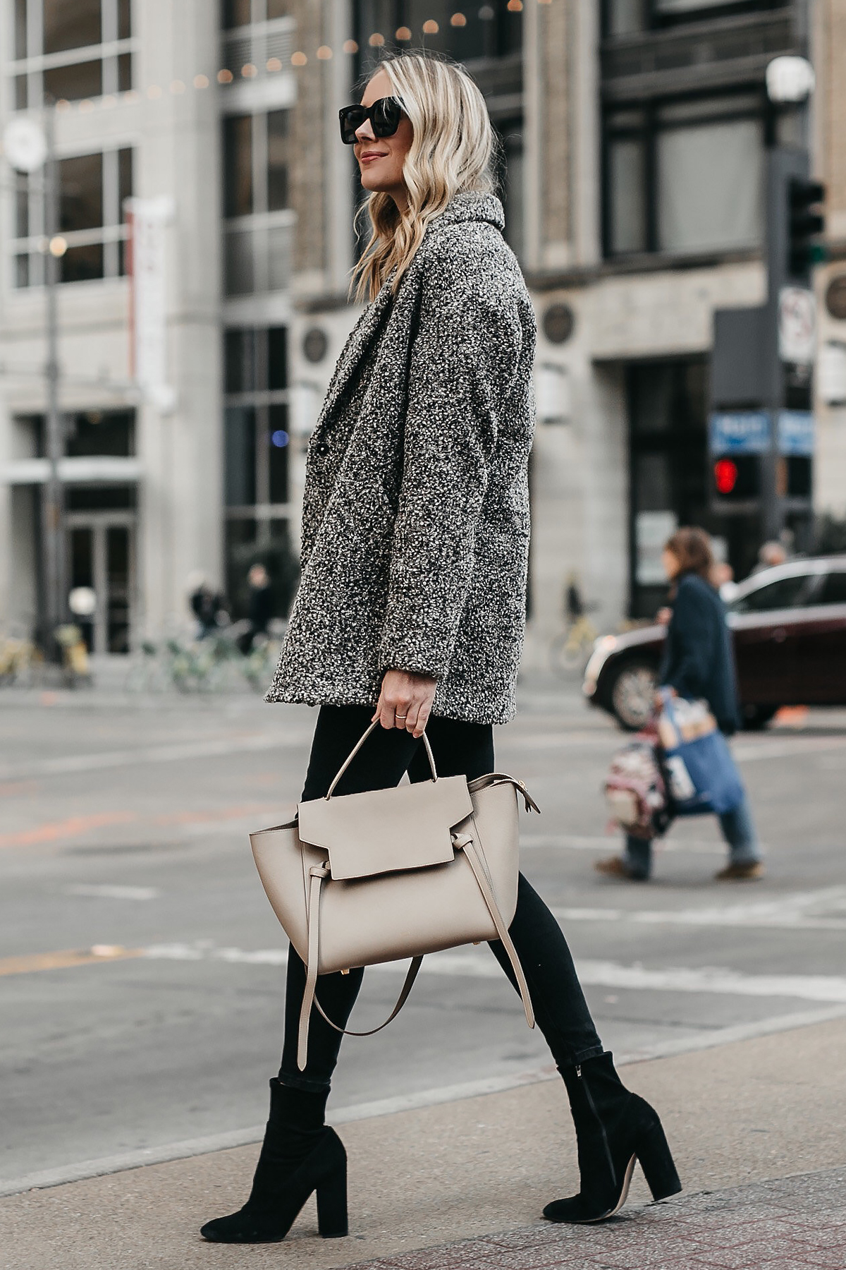 a4ccf2413f Blonde Woman Wearing Abercrombie   Fitch Grey Boucle Coat Black Skinny Jeans  Celine Mini Belt Bag