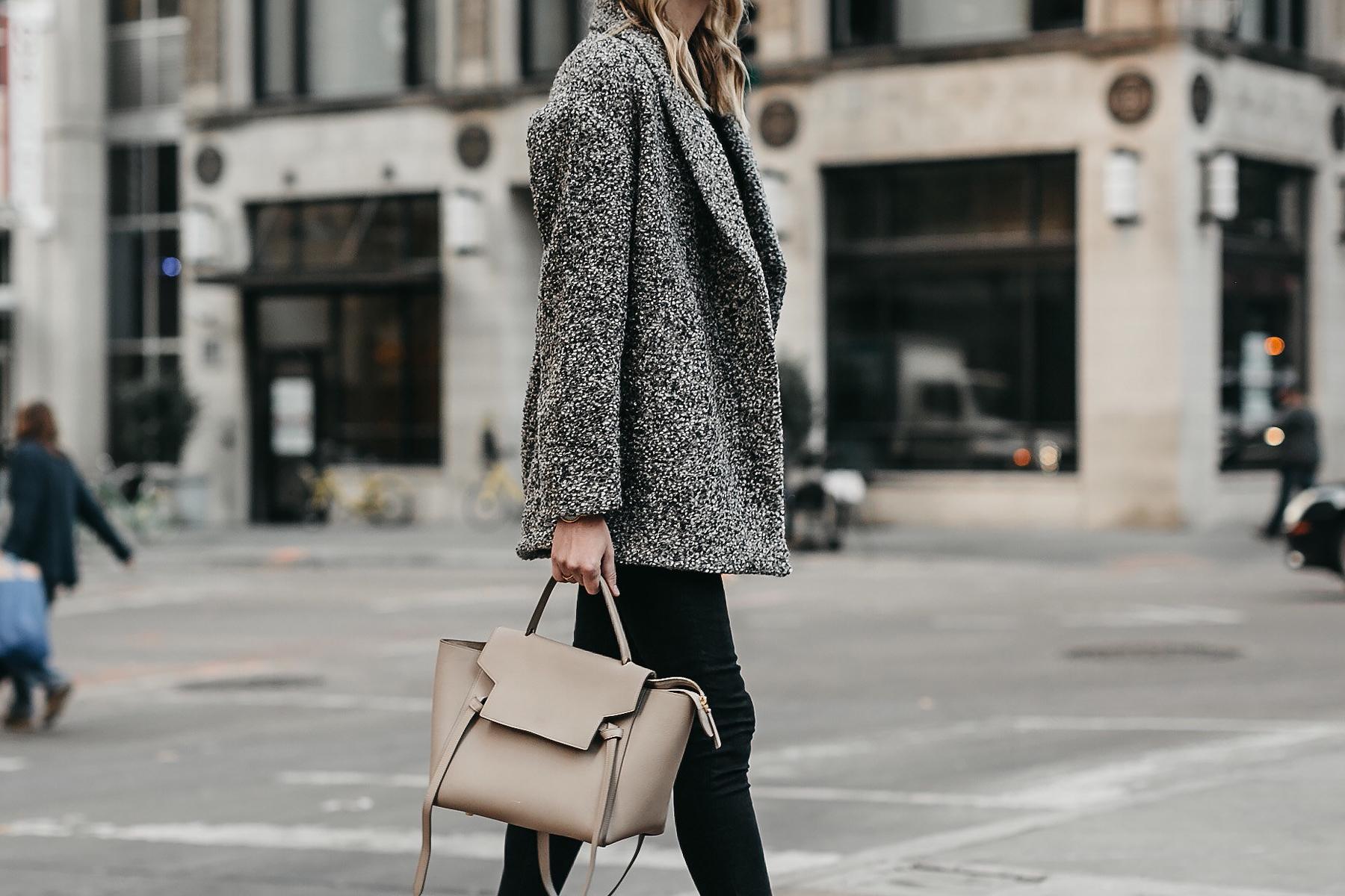 Abercrombie & Fitch Grey Boucle Coat Black Skinny Jeans Celine Mini Belt Bag Fashion Jackson Dallas Blogger Fashion Blogger Street Style