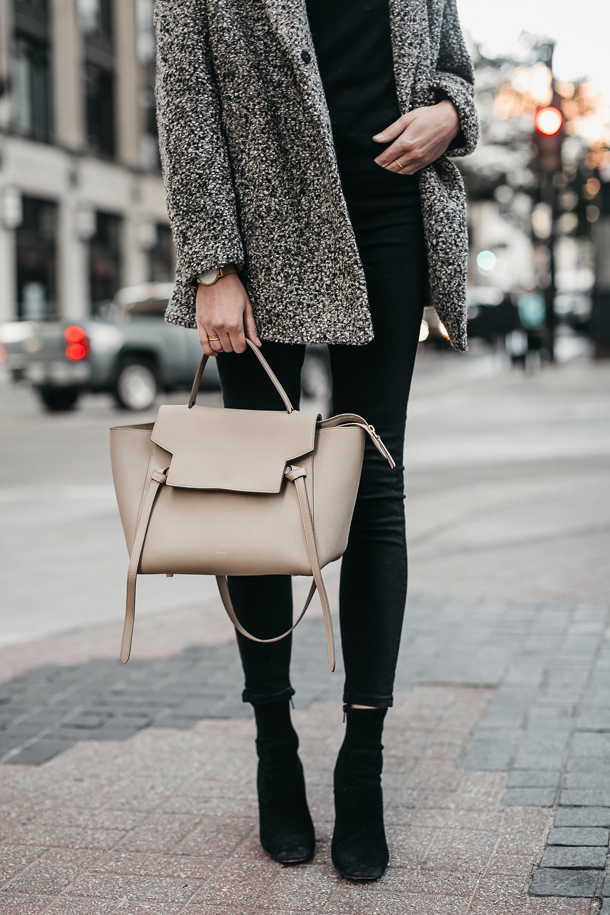 Abercrombie & Fitch Grey Boucle Coat Black Sweater Black Skinny Jeans Celine Mini Belt Bag Club Monaco Black Ankle Booties Fashion Jackson Dallas Blogger Fashion Blogger Street Style