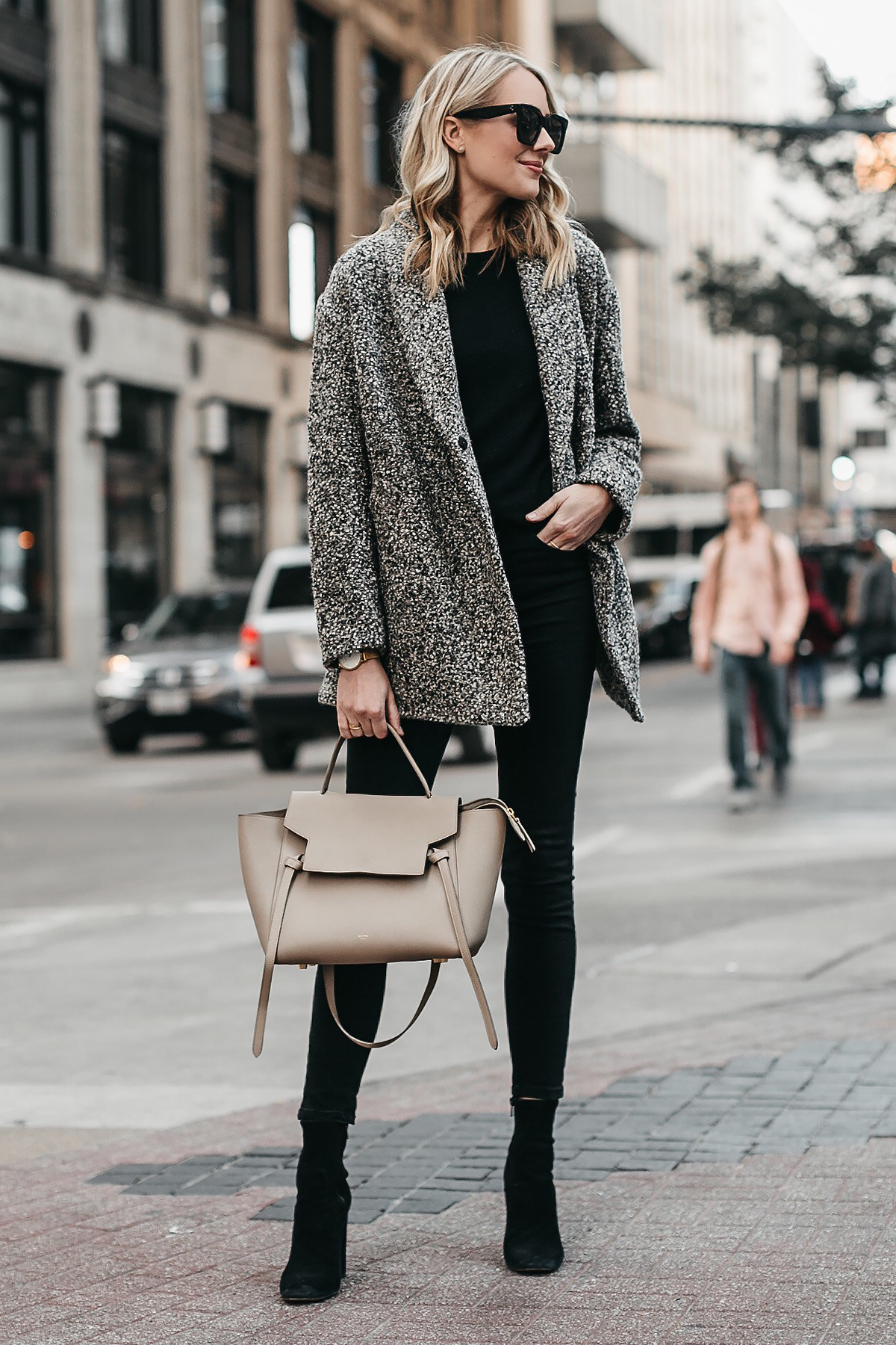 Blonde Woman Wearing Abercrombie & Fitch Grey Boucle Coat Black Sweater Black Skinny Jeans Celine Mini Belt Bag Club Monaco Black Ankle Booties Fashion Jackson Dallas Blogger Fashion Blogger Street Style