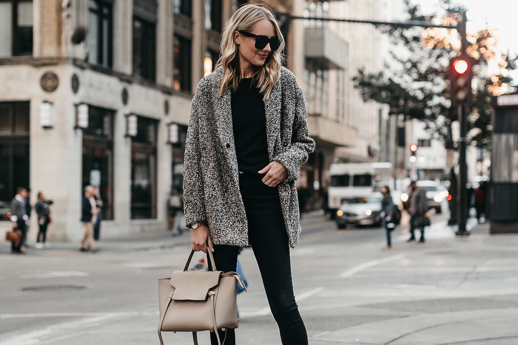 Blonde Woman Wearing Abercrombie & Fitch Grey Boucle Coat Black Sweater Black Skinny Jeans Celine Mini Belt Bag Fashion Jackson Dallas Blogger Fashion Blogger Street Style