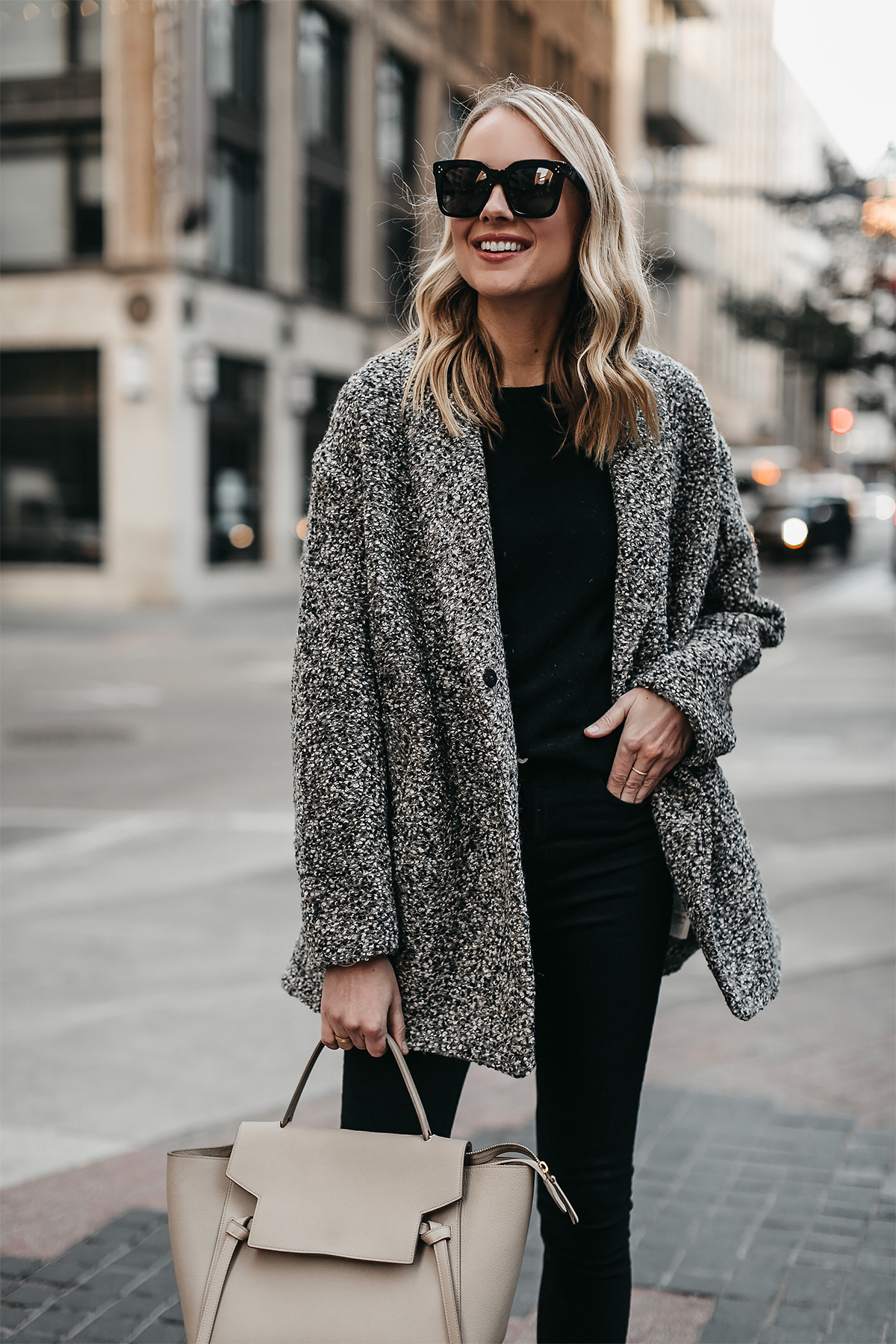 Blonde Woman Wearing Abercrombie & Fitch Grey Boucle Coat Black Sweater Celine Mini Belt Bag Fashion Jackson Dallas Blogger Fashion Blogger Street Style
