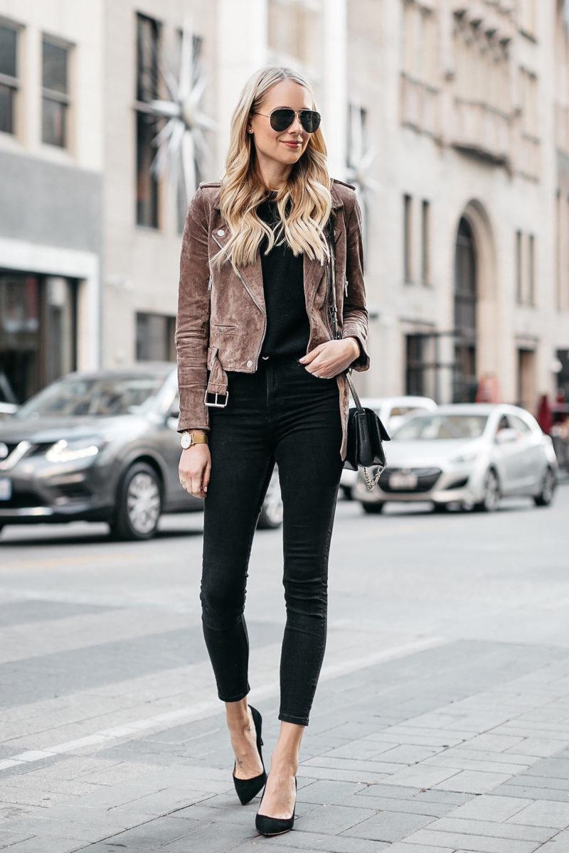 jackson moto jacket jeans suede blanknyc street fashionjackson blonde season wearing shopping holiday tips woman pipdig left