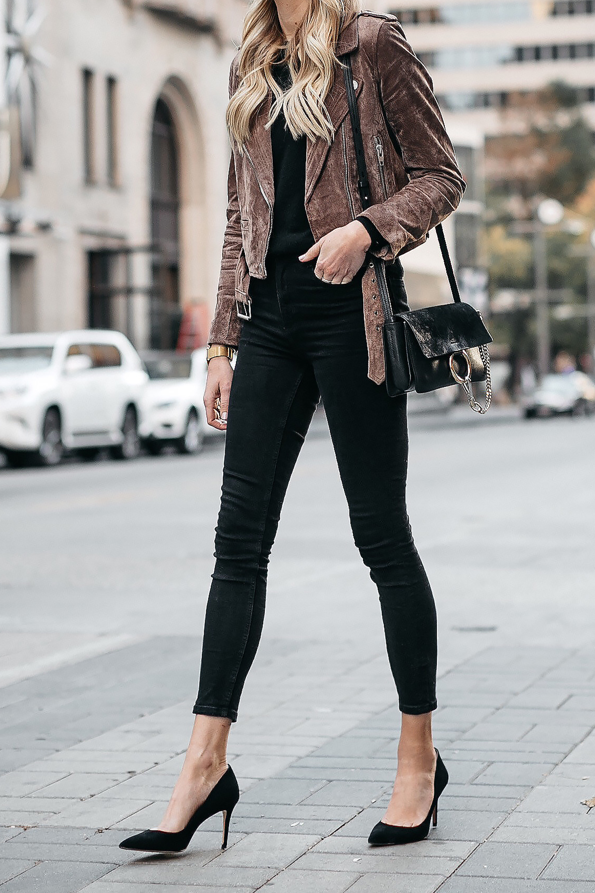 Blanknyc Suede Moto Jacket Black Skinny Jeans Black Pumps Chloe Faye Handbag Fashion Jackson Dallas Blogger Fashion Blogger Street Style