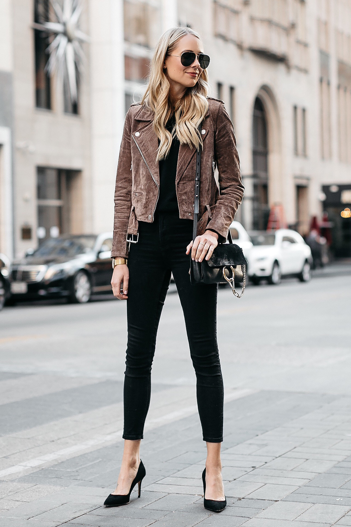 Blonde Woman Wearing Blanknyc Suede Moto Jacket Black Skinny Jeans Black Pumps Chloe Faye Handbag Fashion Jackson Dallas Blogger Fashion Blogger Street Style