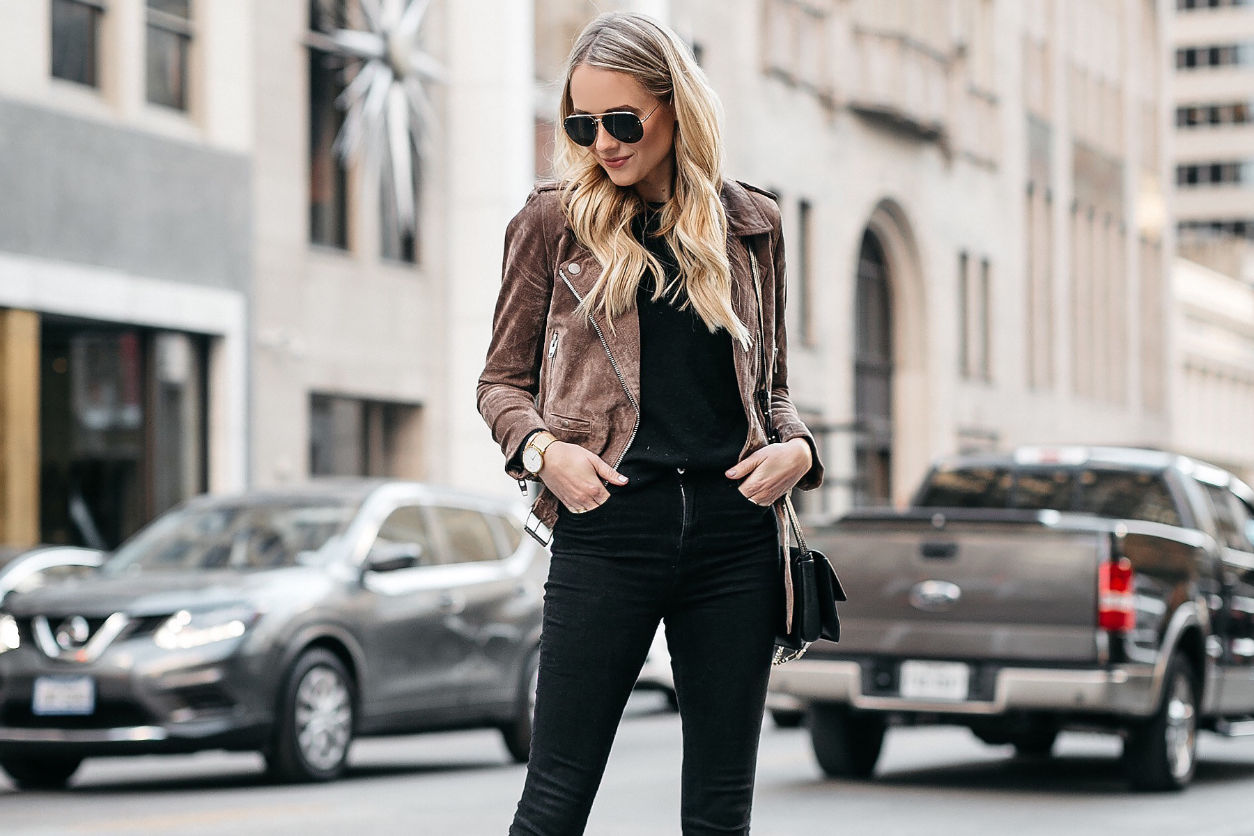 Blonde Woman Wearing Blanknyc Suede Moto Jacket Black Skinny Jeans Fashion Jackson Dallas Blogger Fashion Blogger Street Style