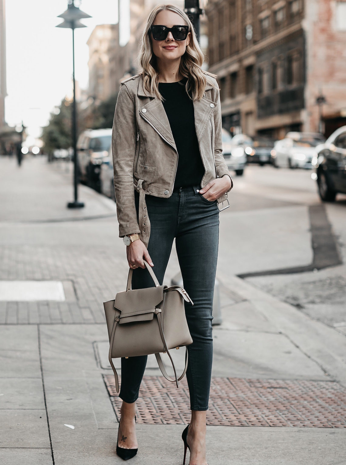 Blonde Woman Wearing Blanknyc Suede Moto Jacket Black Sweater 7 For All Mankind Grey Skinny Jeans Celine Mini Belt Bag Christian Louboutin Black Pumps Fashion Jackson Dallas Blogger Fashion Blogger Street Style