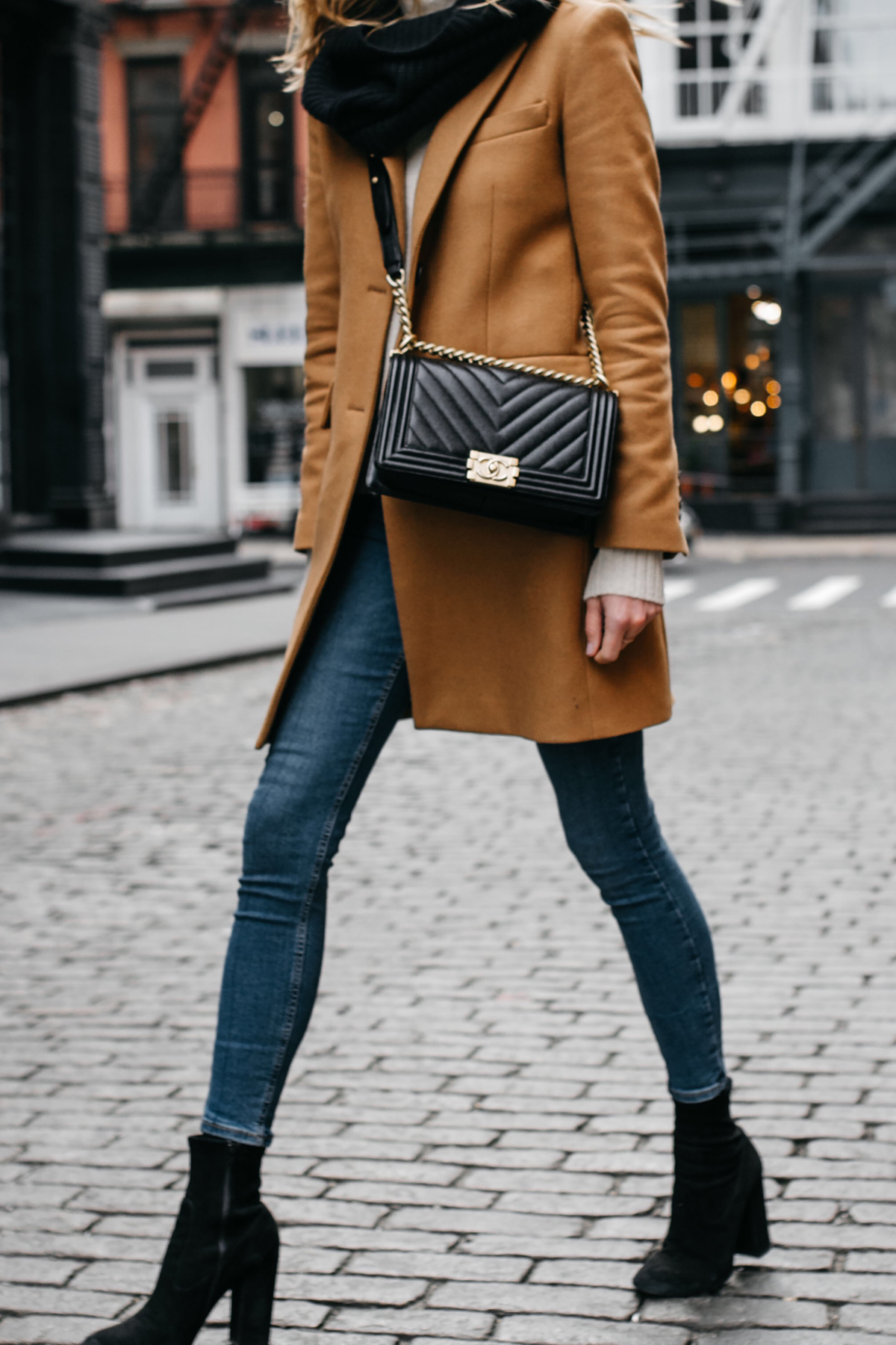 Camel Coat Black Scarf Denim Skinny Jeans Black Booties Chanel Black Boy Bag Fashion Jackson Dallas Blogger Fashion Blogger NYC Street Style