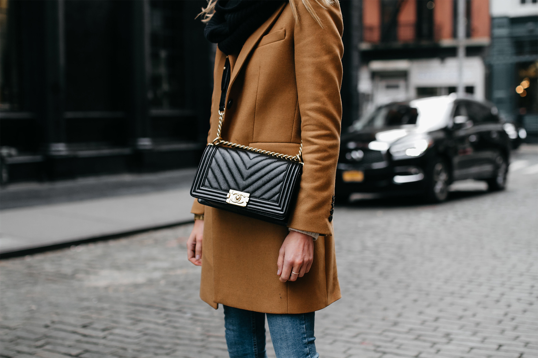 Camel Coat Black Scarf Denim Skinny Jeans Chanel Black Boy Bag Fashion Jackson Dallas Blogger Fashion Blogger NYC Street Style