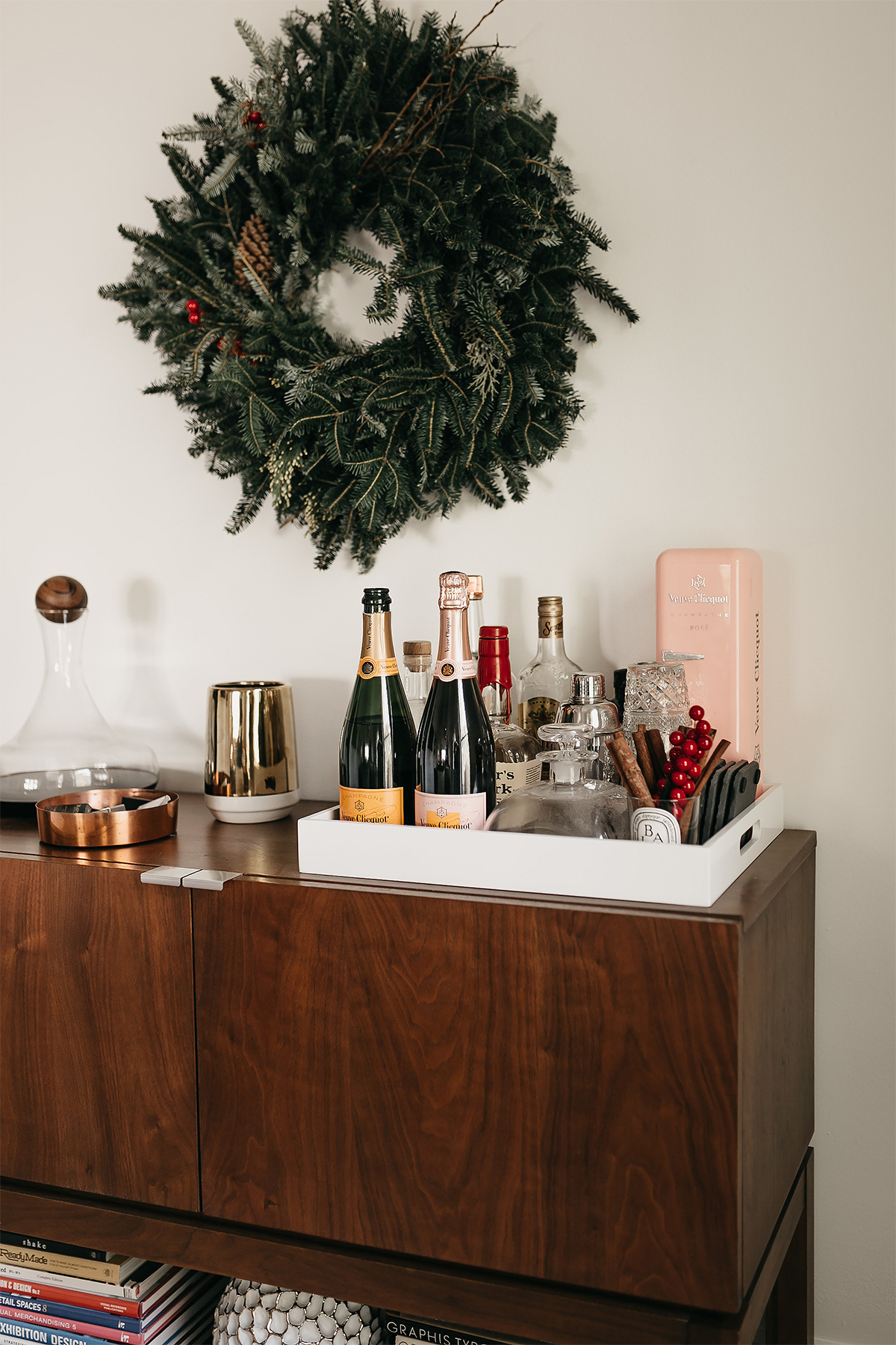 Fashion Jackson Christmas Wreath Bar Cart Bar Tray Veuve Clicquot Champagne