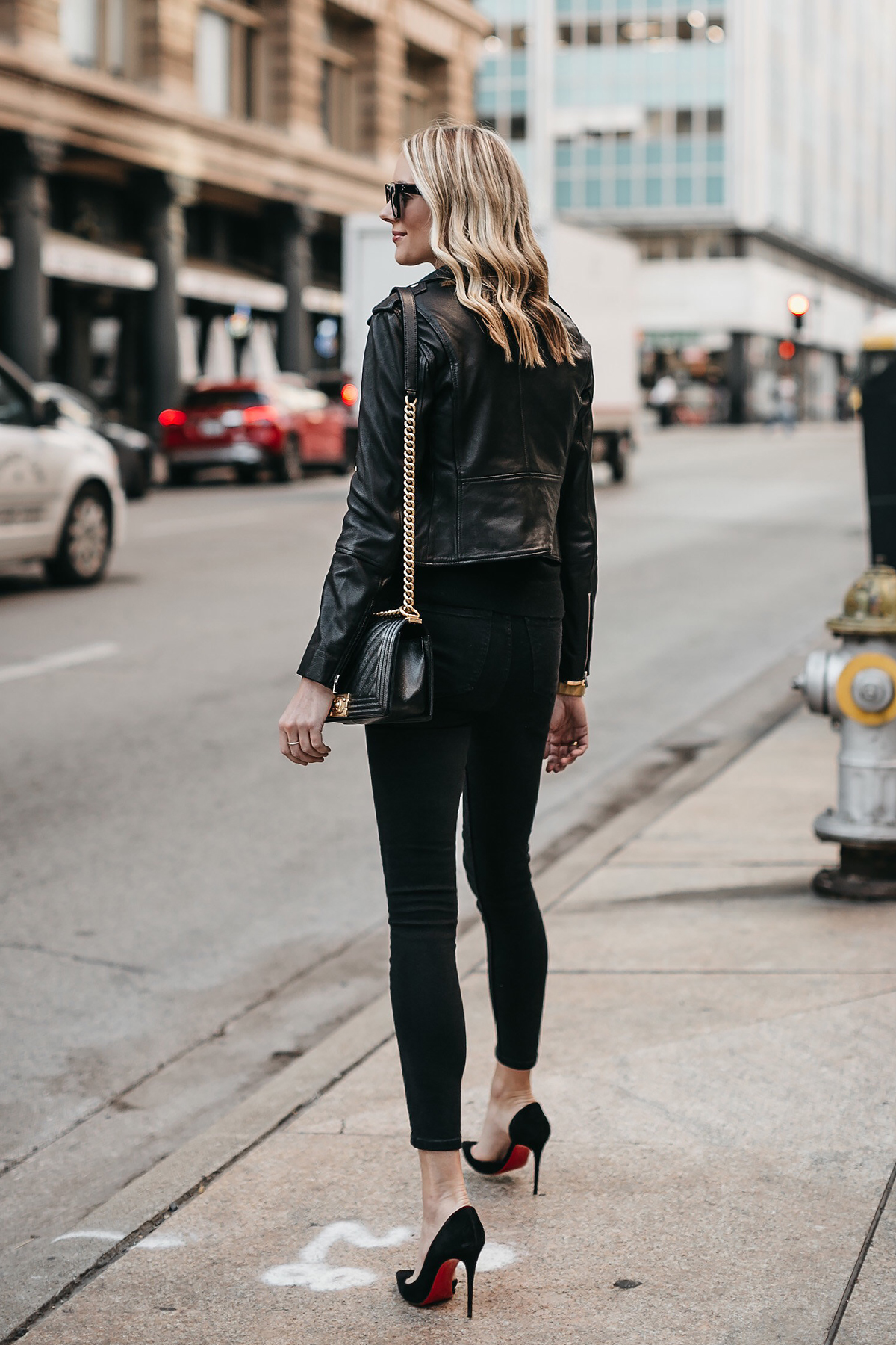 Blonde Woman Wearing Club Monaco Black Leather Jacket Black Skinny Jeans Christian Louboutin Black Pumps Fashion Jackson Dallas Blogger Fashion Blogger Street Style