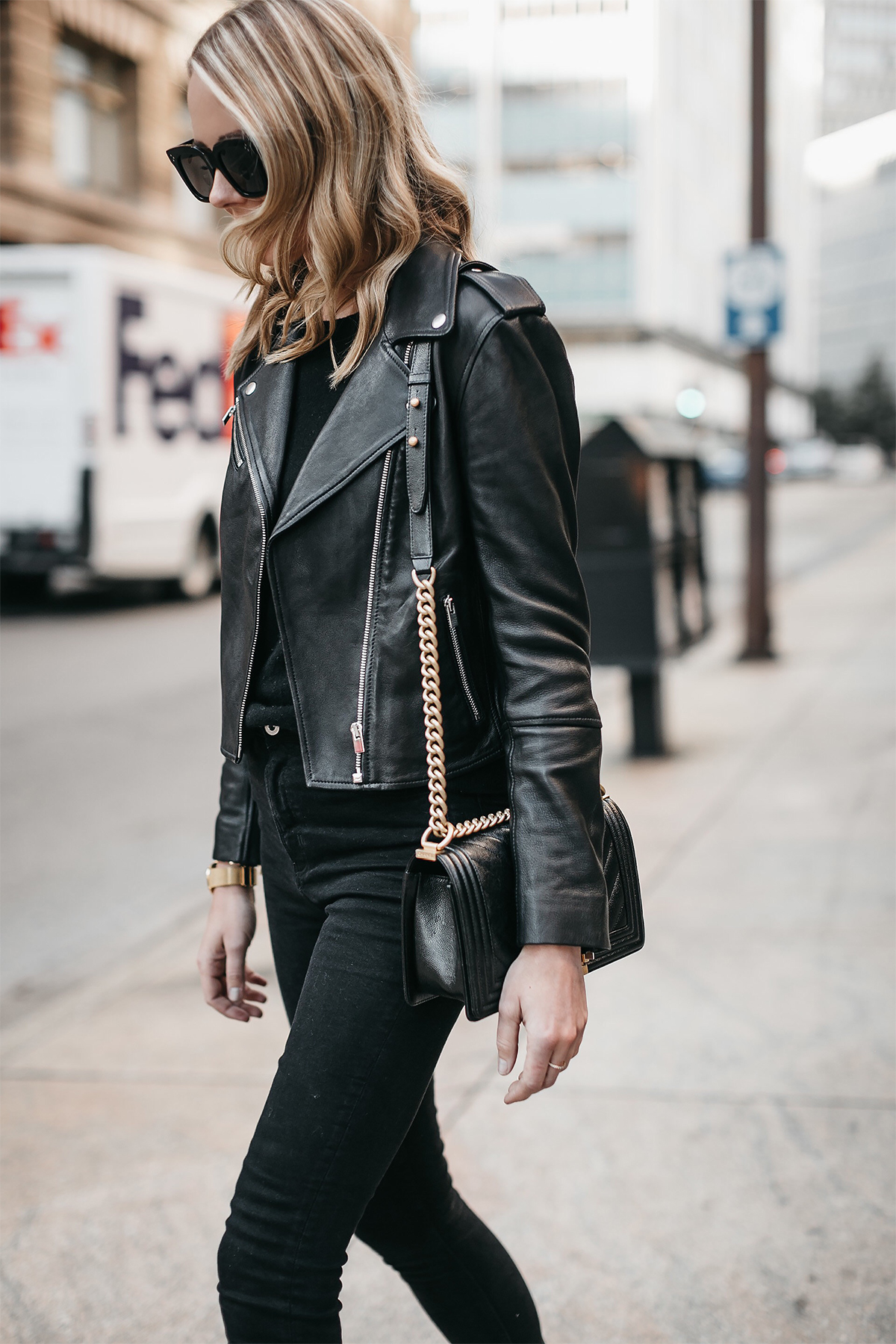 Blonde Woman Wearing Club Monaco Black Leather Jacket Black Sweater Black Skinny Jeans Fashion Jackson Dallas Blogger Fashion Blogger Street Style