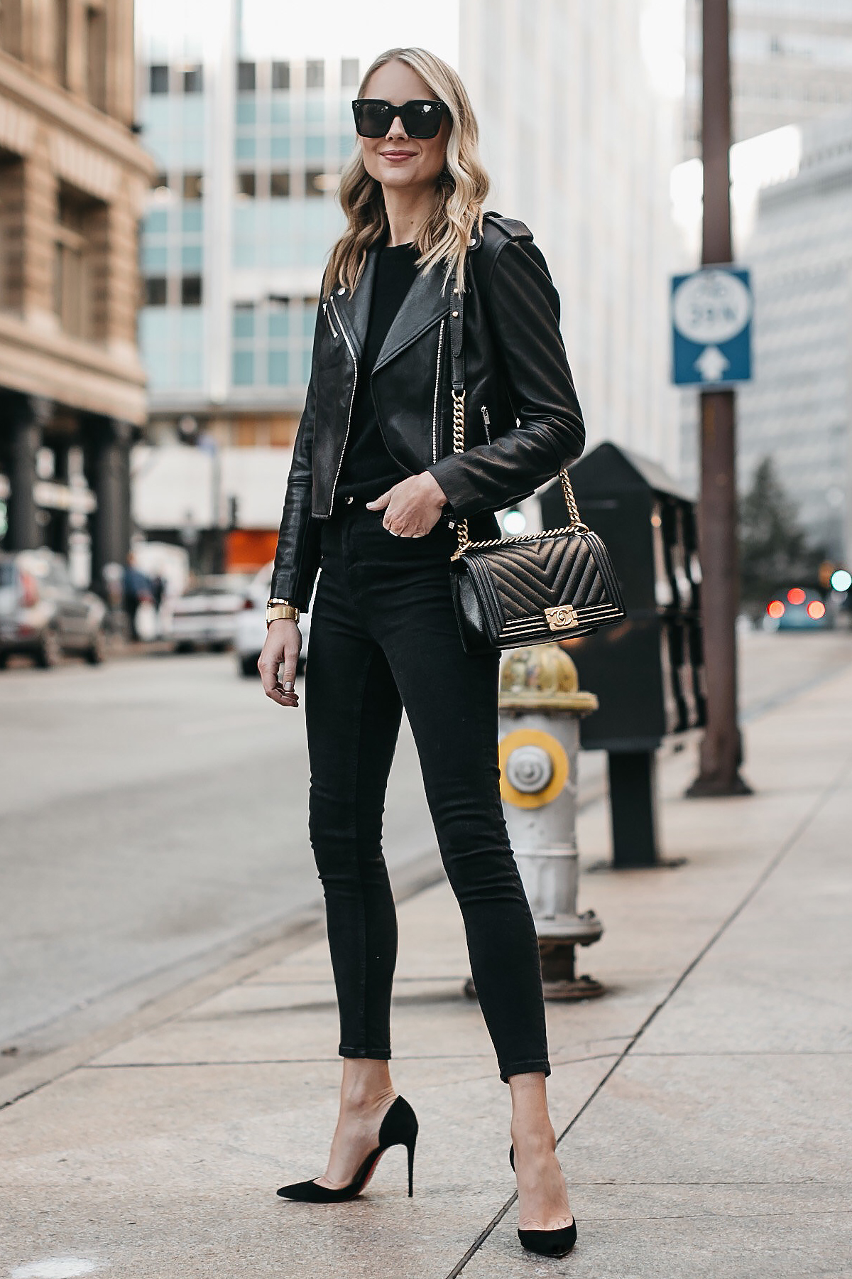 Black leather jacket style