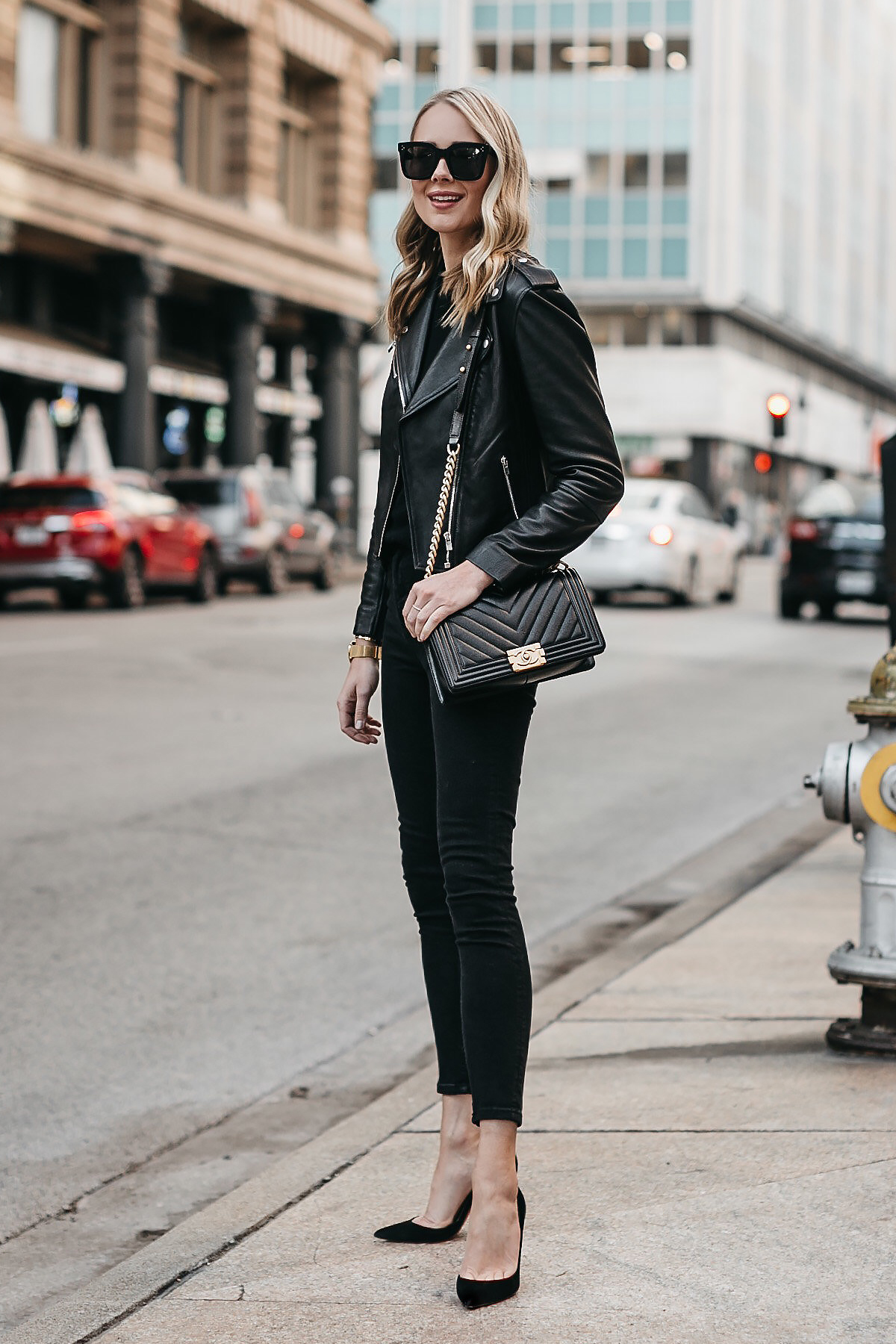 Blonde Woman Wearing Club Monaco Black Leather Jacket Black Sweater Black Skinny Jeans Black Pumps Chanel Boy Bag Fashion Jackson Dallas Blogger Fashion Blogger Street Style