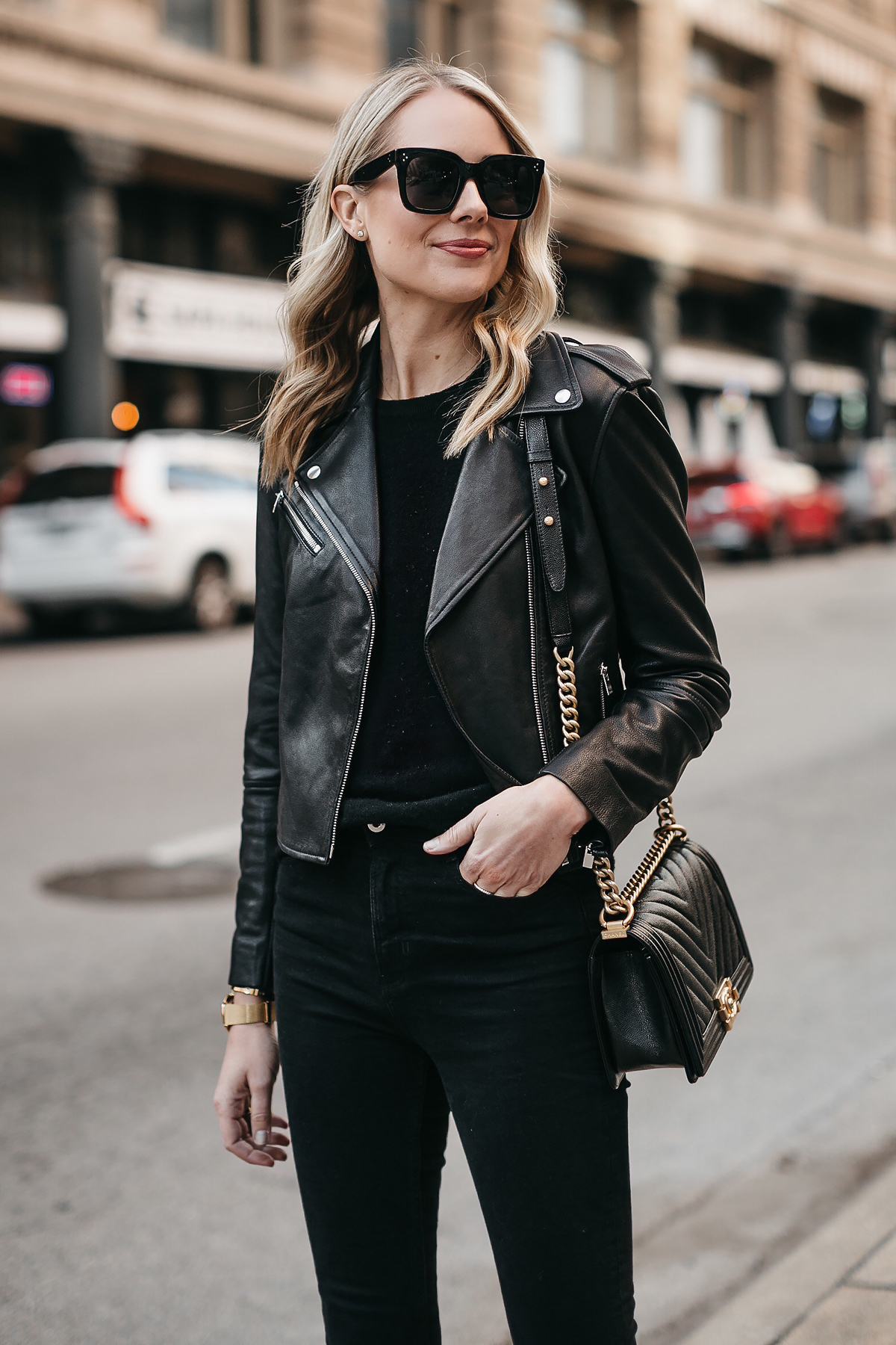 Blonde Woman Wearing Club Monaco Black Leather Jacket Black Sweater Chanel Boy Bag Fashion Jackson Dallas Blogger Fashion Blogger Street Style