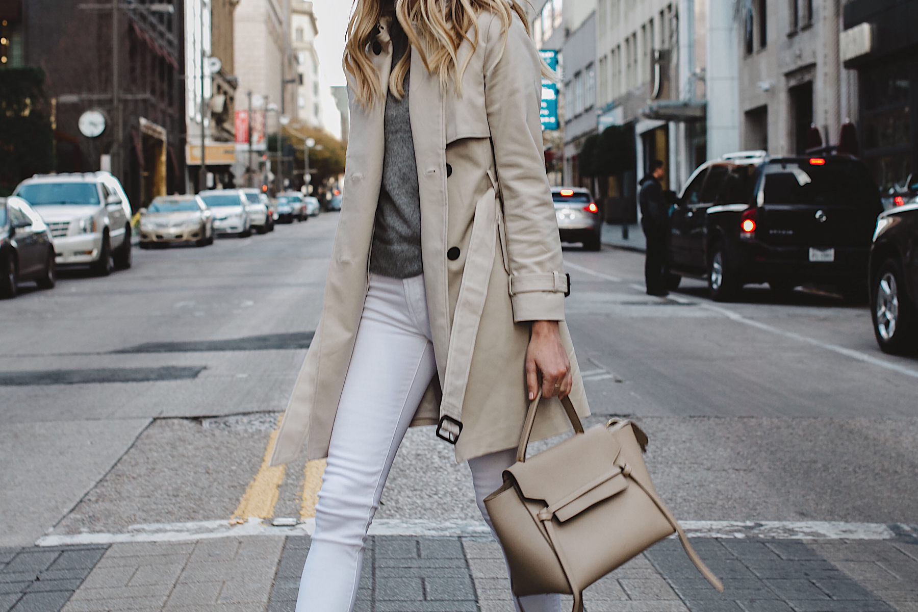 Club Monaco Trench Coat Grey Sweater White Skinny Jeans Celine Belt Bag Fashion Jackson Dallas Blogger Fashion Blogger Street Style