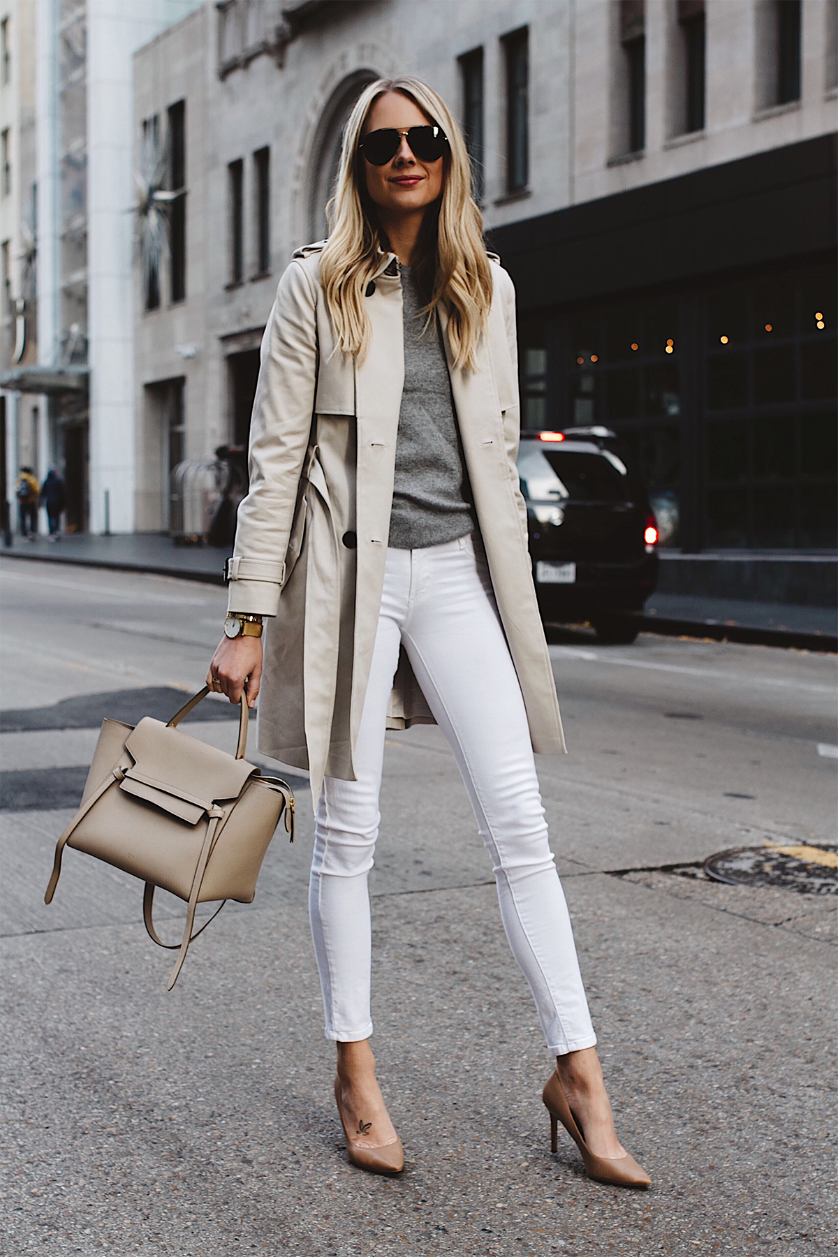 Blonde Woman Wearing Club Monaco Trench Coat Grey Sweater White Skinny Jeans Celine Belt Bag Aviator Sunglasses Nude Pumps Fashion Jackson Dallas Blogger Fashion Blogger Street Style