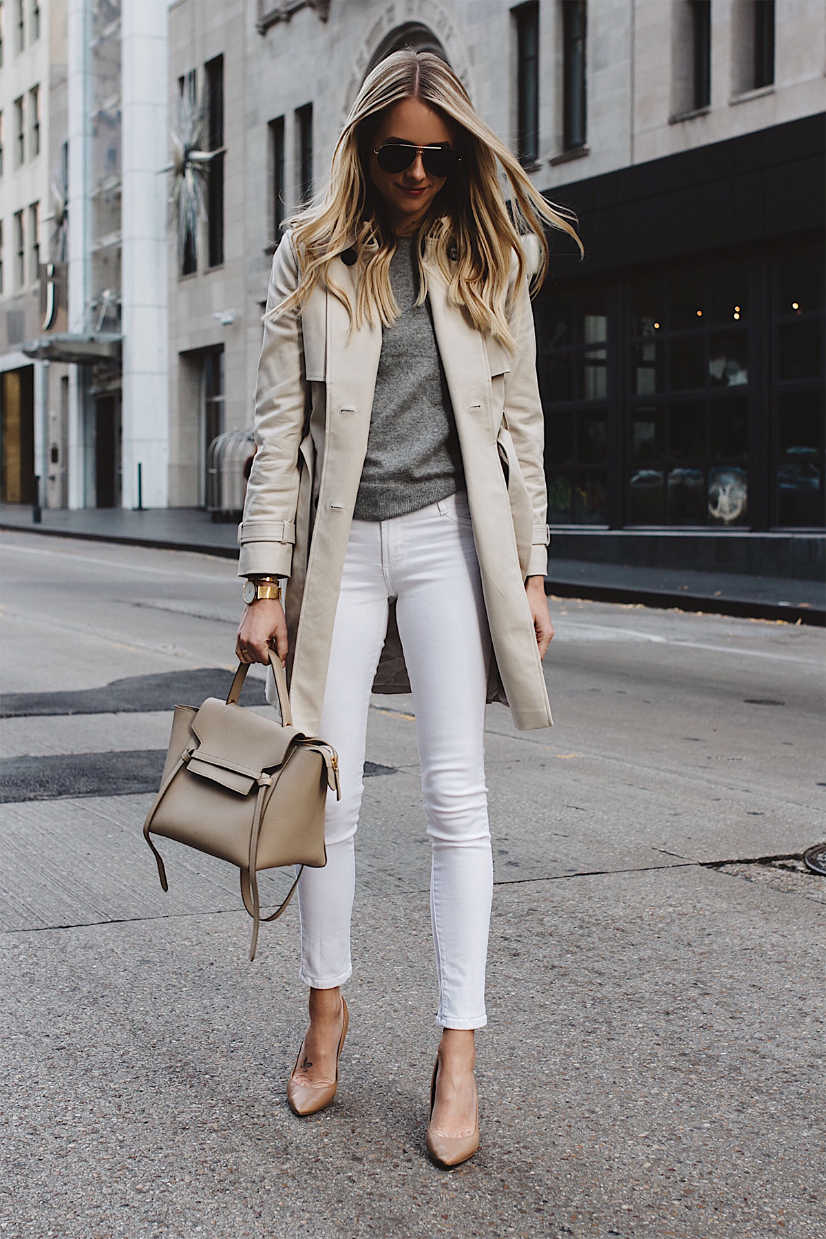 Fashion Jackson Club Monaco Trench Coat Grey Sweater White Skinny Jeans Celine Belt Bag Aviator Sunglasses Nude Pumps Fashion Jackson Dallas Blogger Fashion Blogger Street Sylte