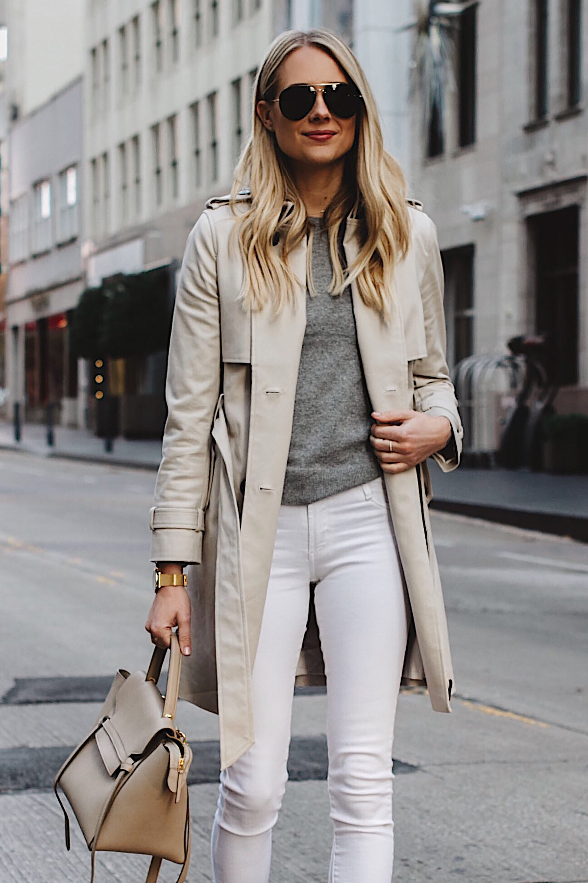 Blonde Woman Wearing Club Monaco Trench Coat Grey Sweater White Skinny Jeans Celine Belt Bag Aviator Sunglasses Fashion Jackson Dallas Blogger Fashion Blogger Street Style