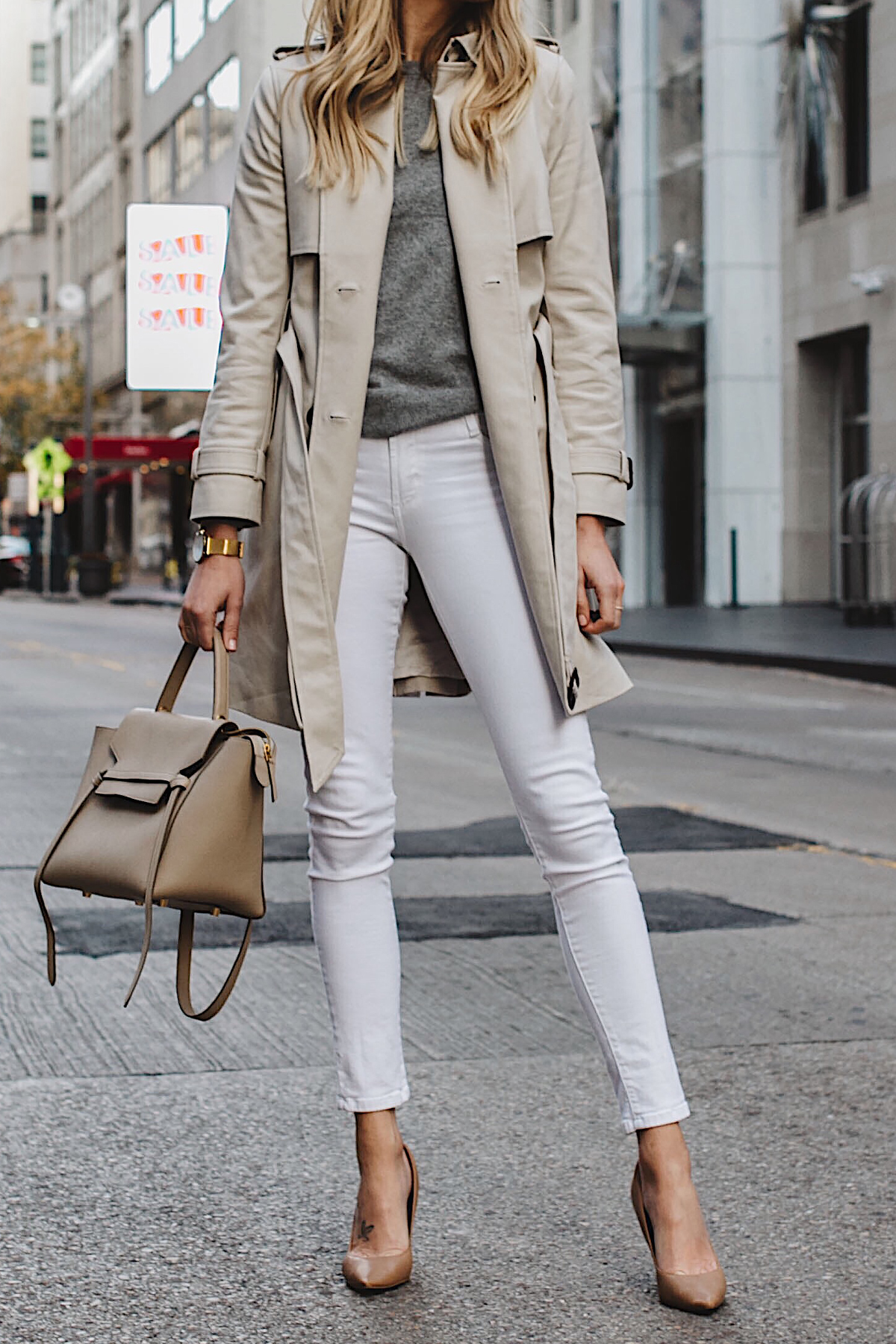 Club Monaco Trench Coat Grey Sweater White Skinny Jeans Celine Belt Bag Nude Pumps Fashion Jackson Dallas Blogger Fashion Blogger Street Style