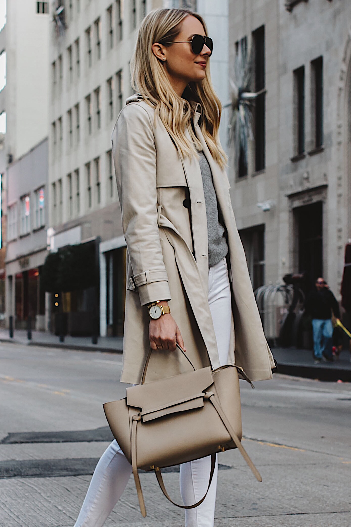 Blonde Woman Wearing Club Monaco Trench Coat Grey Sweater White Skinny Jeans Celine Belt Bag Fashion Jackson Dallas Blogger Fashion Blogger Street Style