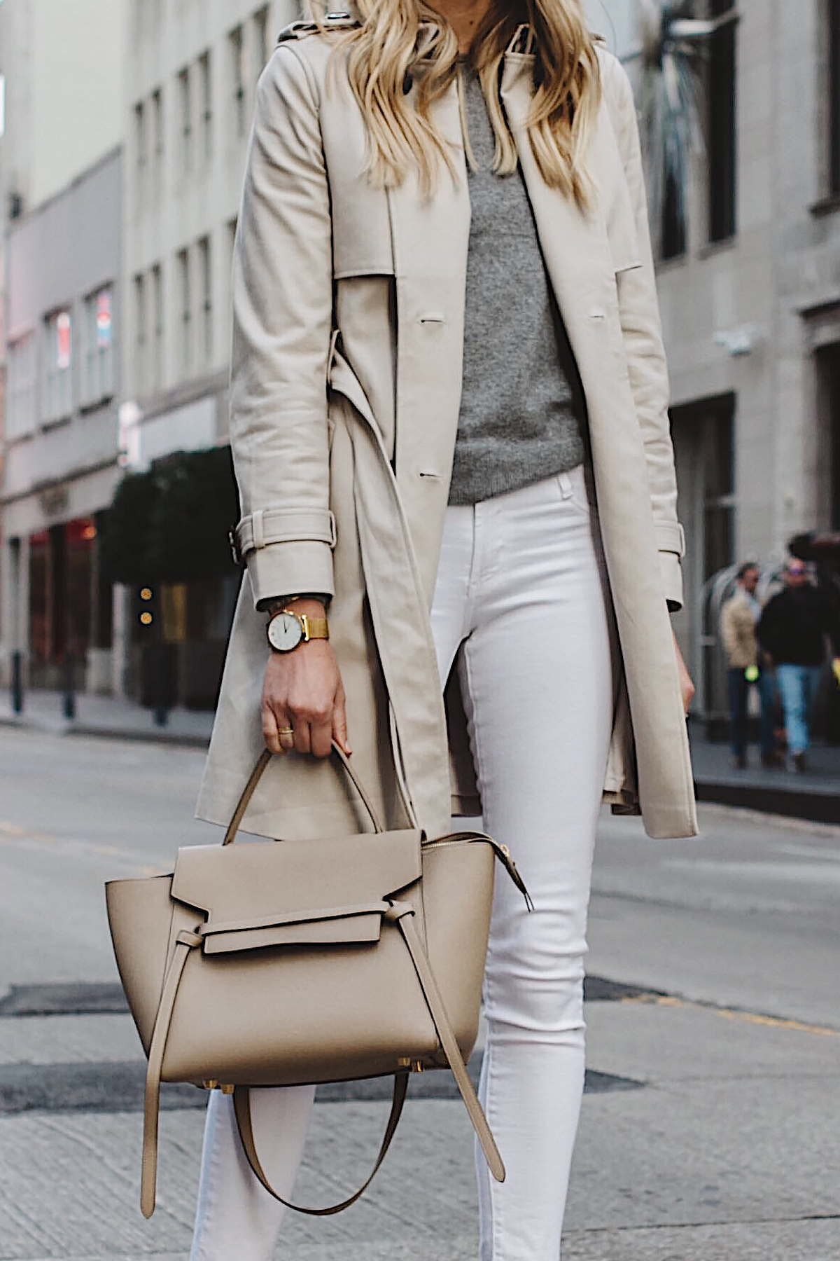 Fashion Jackson Club Monaco Trench Coat Grey Sweater White Skinny Jeans Celine Mini Belt Bag Fashion Jackson Dallas Blogger Fashion Blogger Street Style