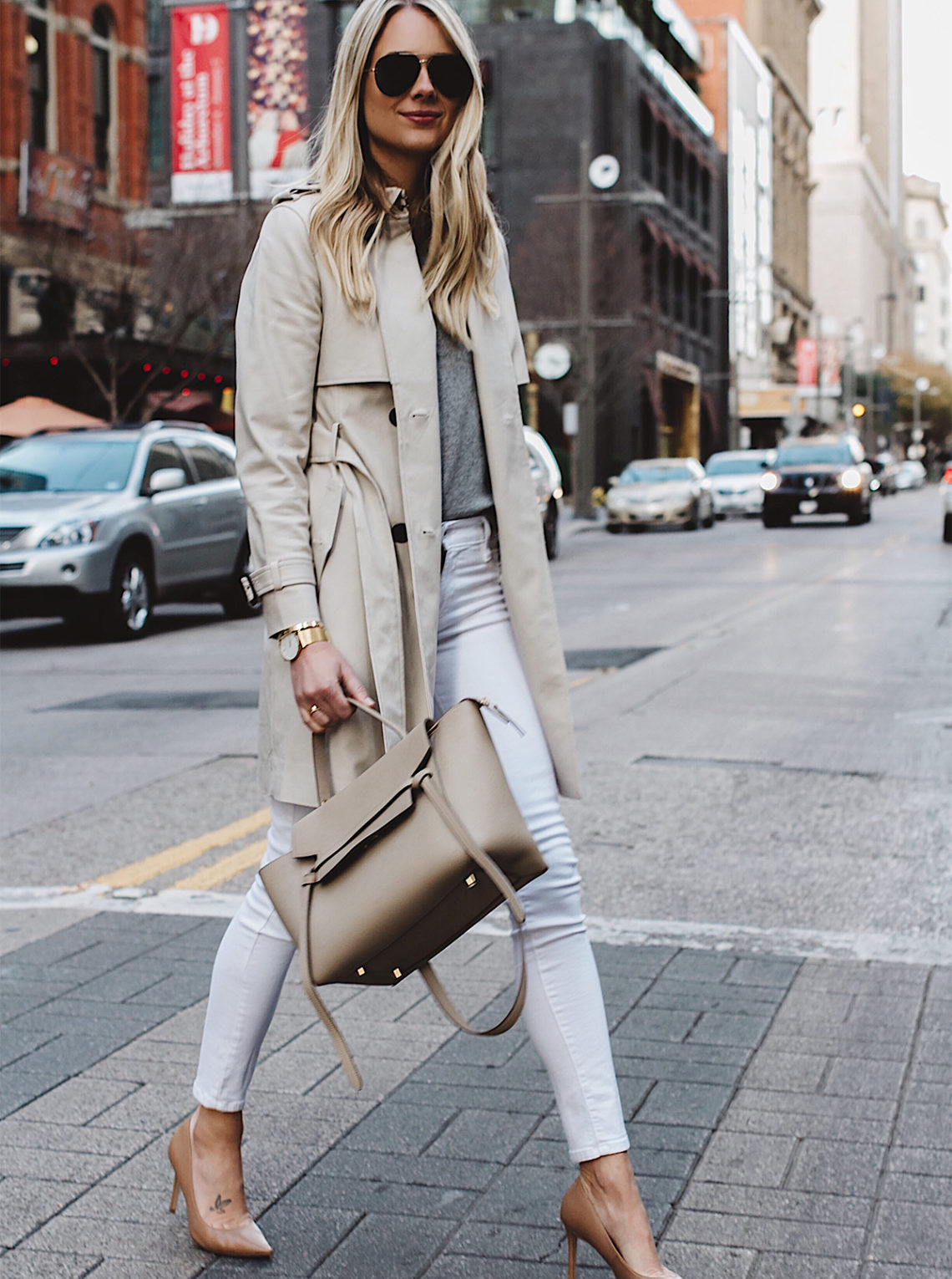Blonde Woman Wearing Club Monaco Trench Coat Grey Sweater White Skinny Jeans Nude Pumps Celine Belt Bag Aviator Sunglasses Fashion Jackson Dallas Blogger Fashion Blogger Street Style