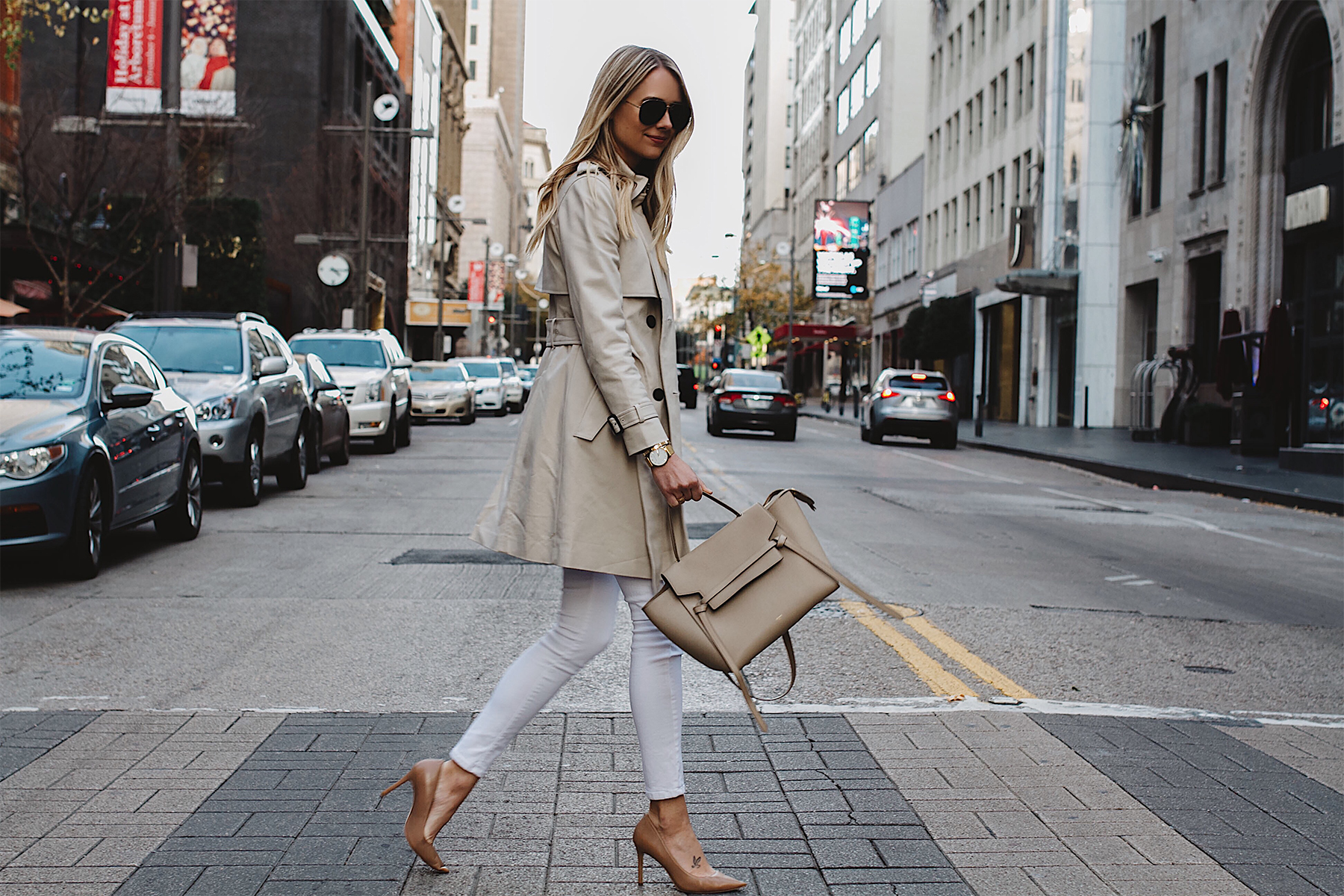 Blonde Woman Wearing Club Monaco Trench Coat White Skinny Jeans Celine Belt Bag Aviator Sunglasses Nude Pumps Fashion Jackson Dallas Blogger Fashion Blogger Street Style