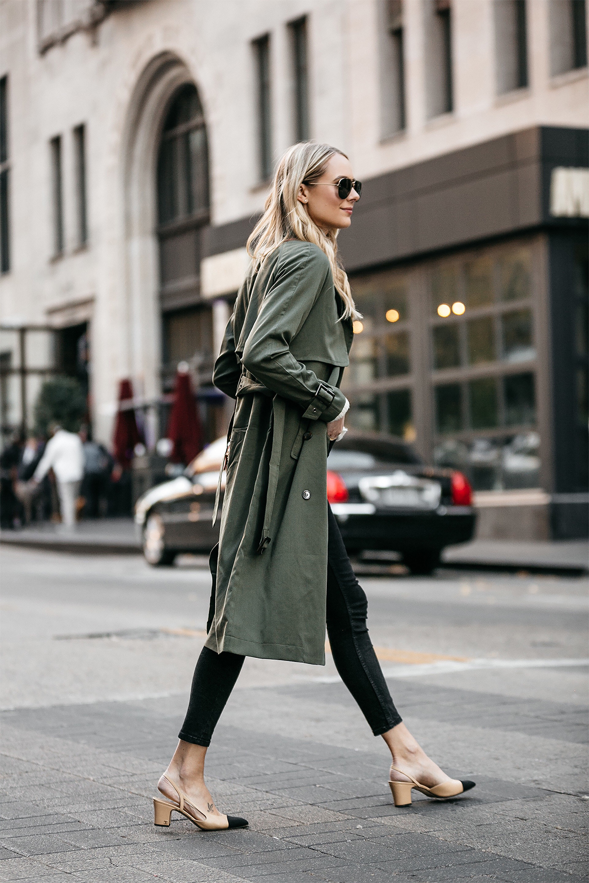 Blonde Woman Wearing Green Trench Coat Black Skinny Jeans Chanel Slingbacks Fashion Jackson Dallas Blogger Fashion Blogger Street Style