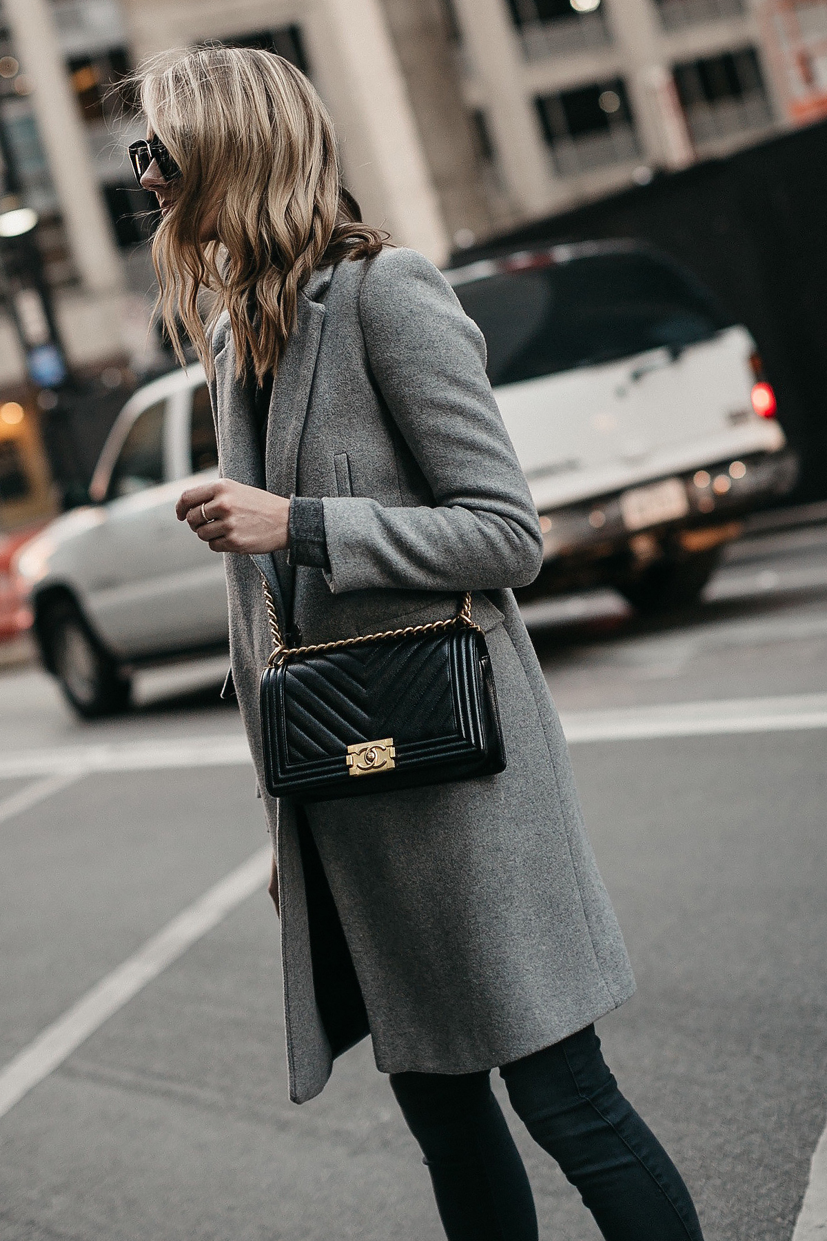Blonde Woman Wearing Grey Coat Grey Skinny Jeans Black Chanel Boy Bag Fashion Jackson Dallas Blogger Fashion Blogger Street Style