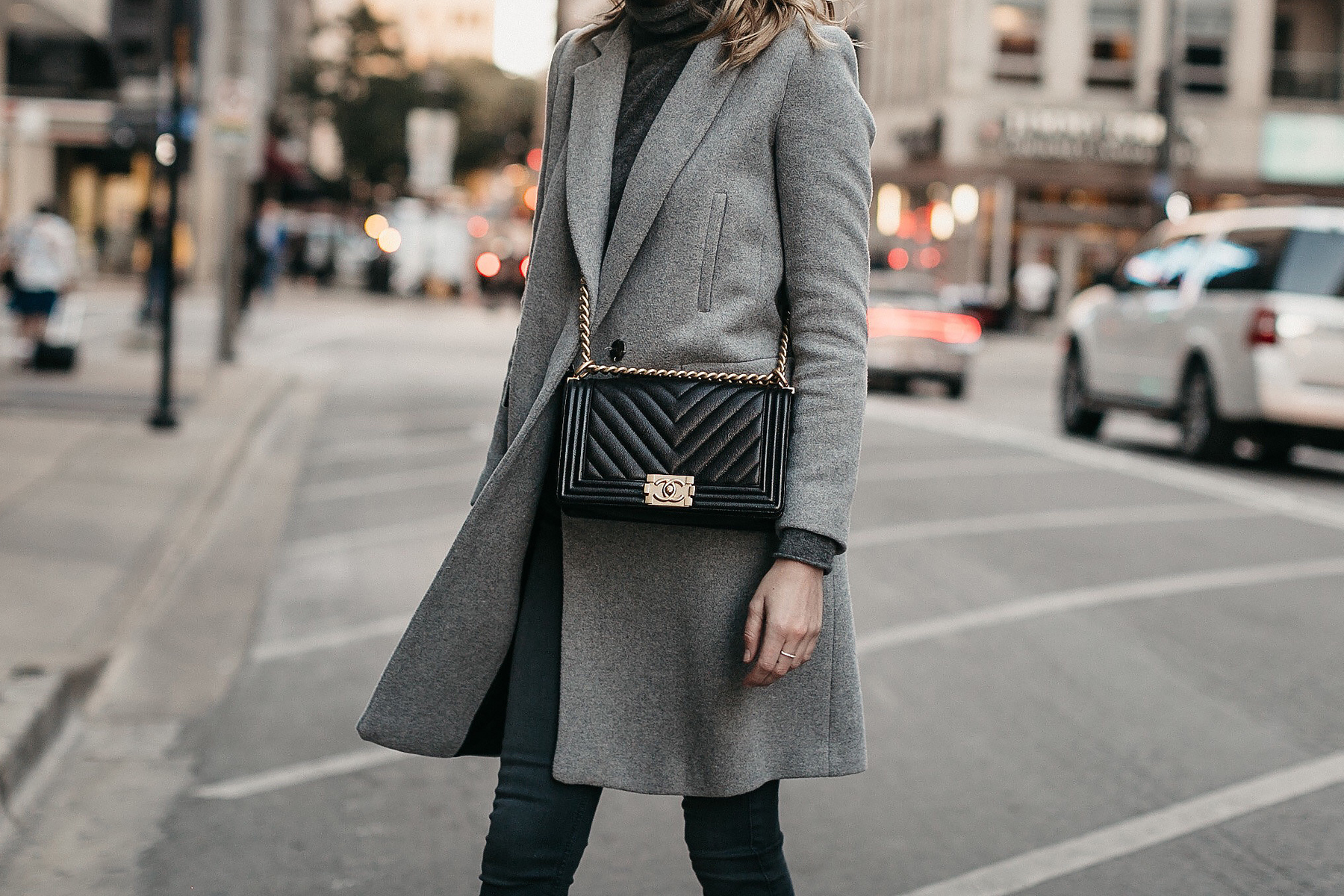 Grey Coat Grey Turtleneck Sweater Black Chanel Boy Bag Fashion Jackson Dallas Blogger Fashion Blogger Street Style