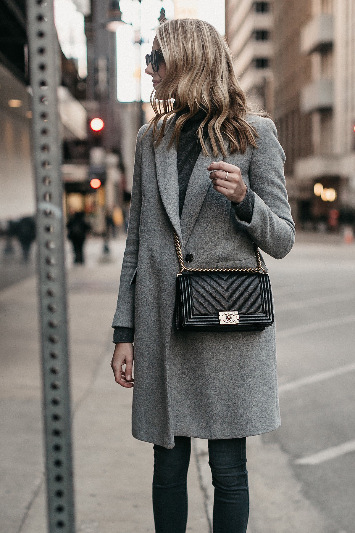 Blonde Woman Wearing Grey Coat Grey Turtleneck Sweater Black Chanel Boy Bag Fashion Jackson Dallas Blogger Fashion Blogger Street Style