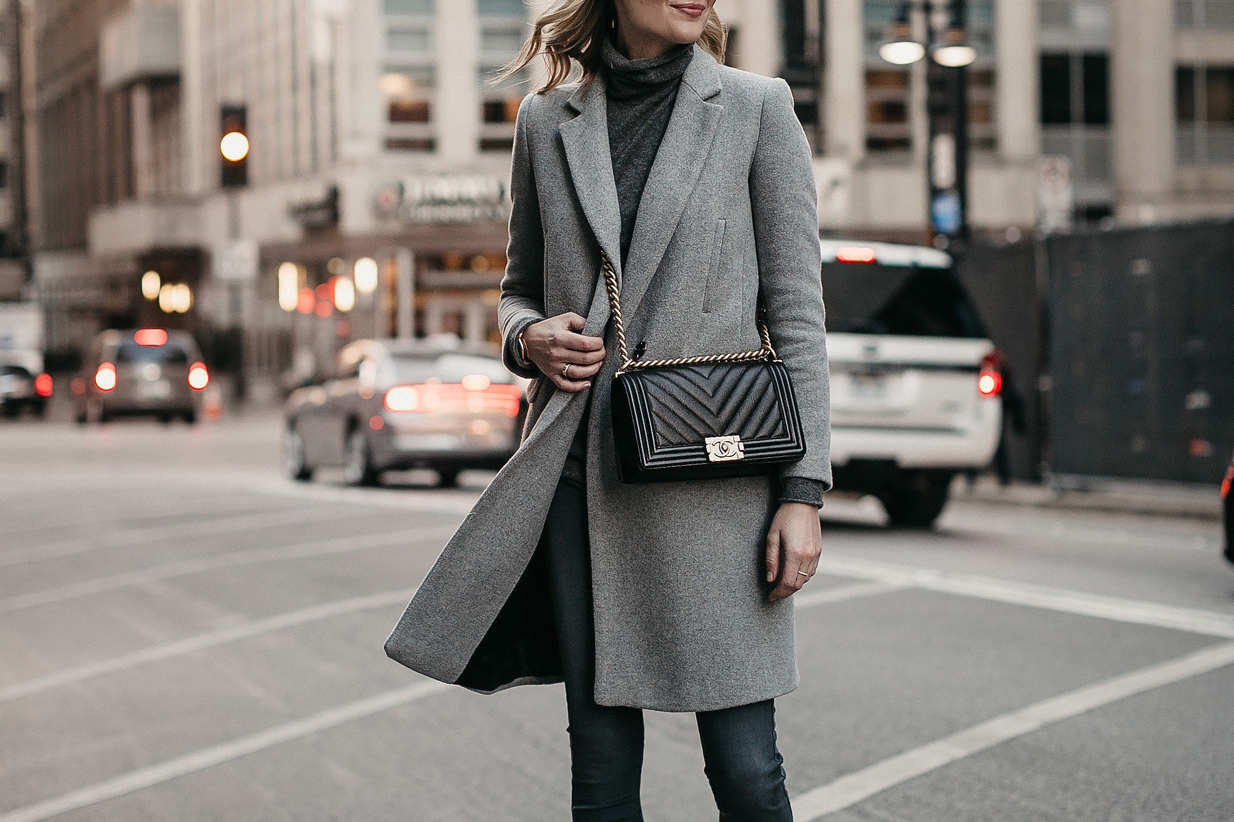 Grey Coat Grey Turtleneck Sweater Chanel Boy Bag Fashion Jackson Dallas Blogger Fashion Blogger Street Style