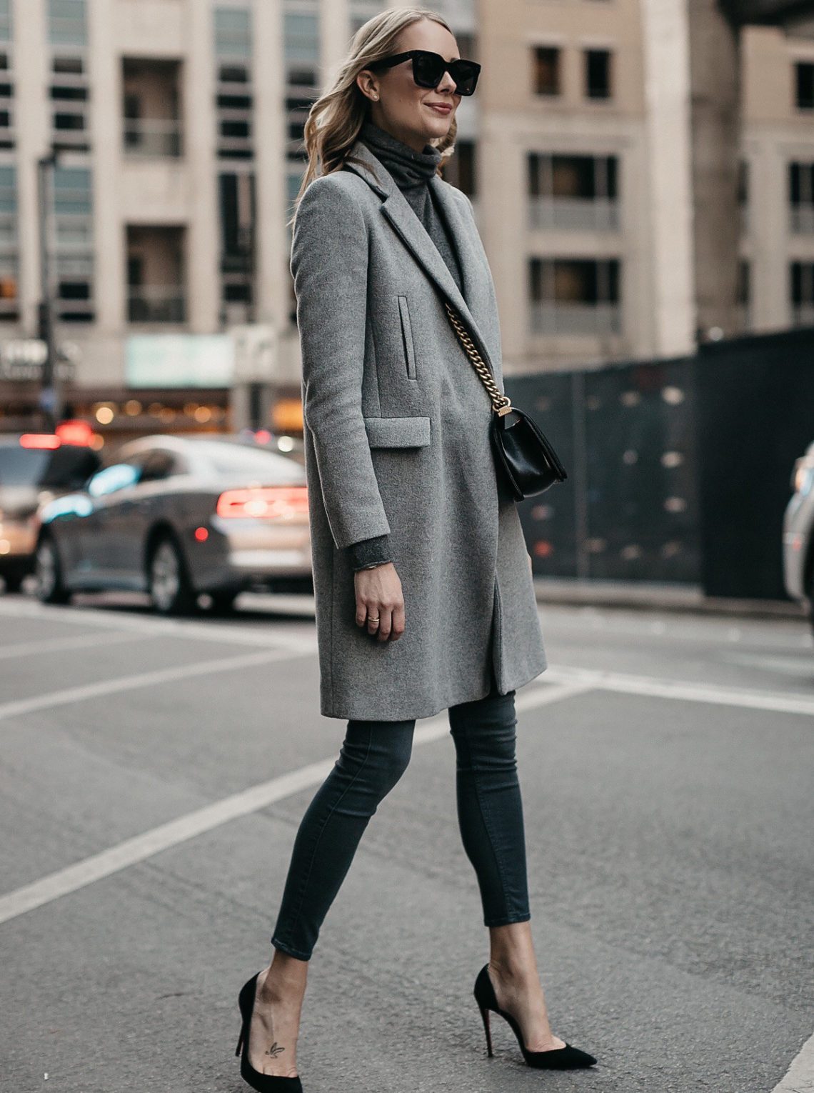 Blonde Woman Wearing Grey Coat Grey Turtleneck Sweater Grey Skinny Jeans Fashion Jackson Dallas Blogger Fashion Blogger Street Style