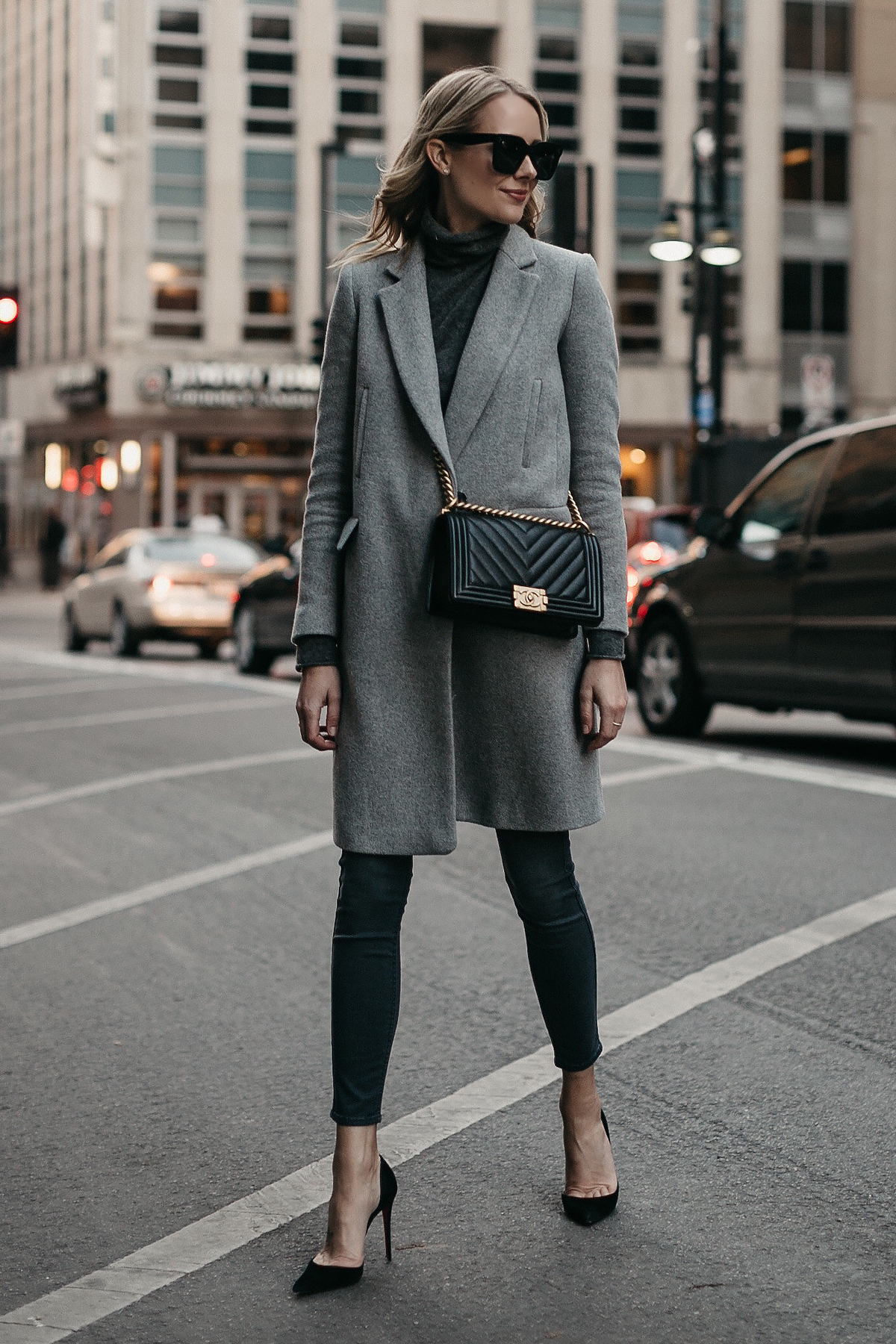Blonde Woman Wearing Grey Coat Grey Turtleneck Sweater Grey Skinny Jeans Black Pumps Black Chanel Boy Bag Fashion Jackson Dallas Blogger Fashion Blogger Street Style