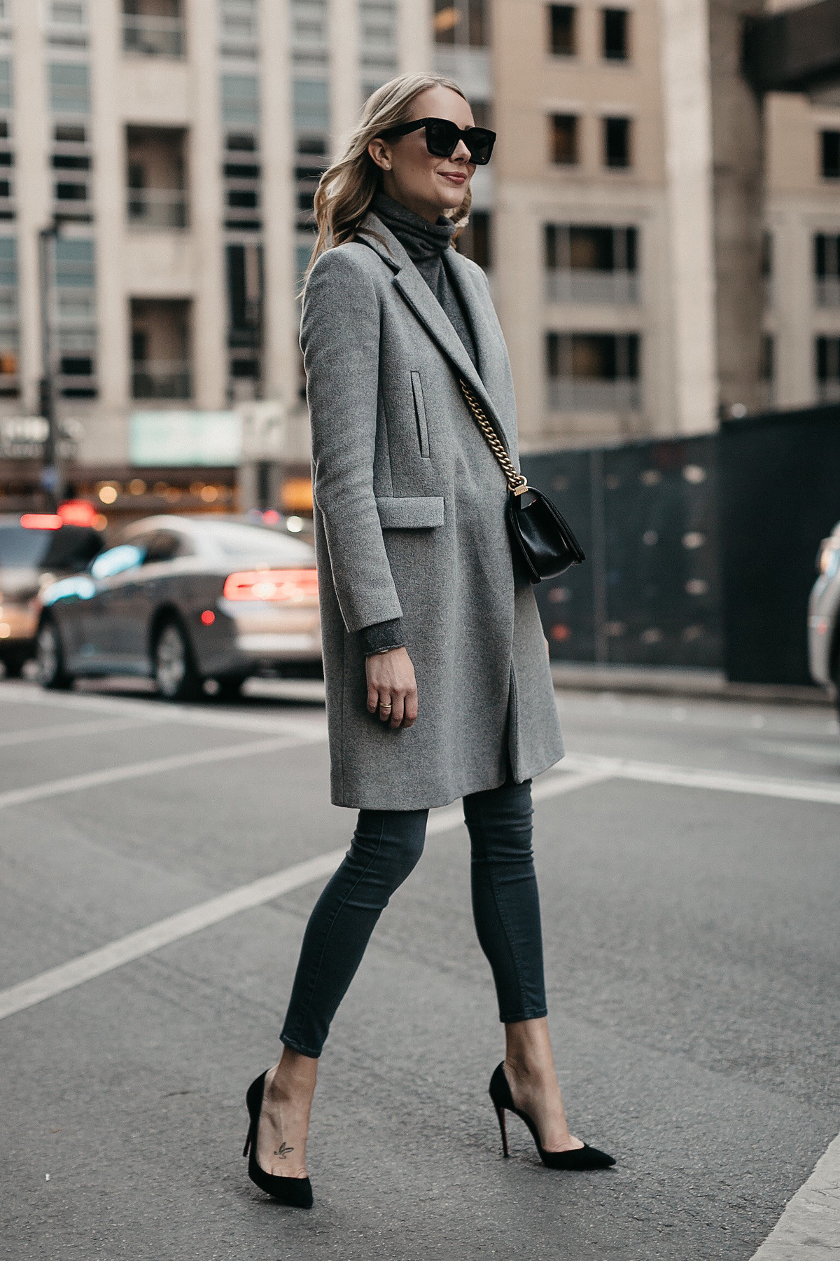 5c26b98862 Blonde Woman Wearing Grey Coat Grey Turtleneck Sweater Grey Skinny Jeans  Fashion Jackson Dallas Blogger Fashion