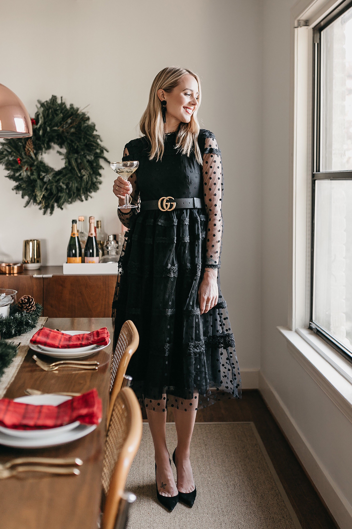 Fashion Jackson Holiday Christmas Tablescape Rachel Parcell Black Lace Dress Gucci Belt 1