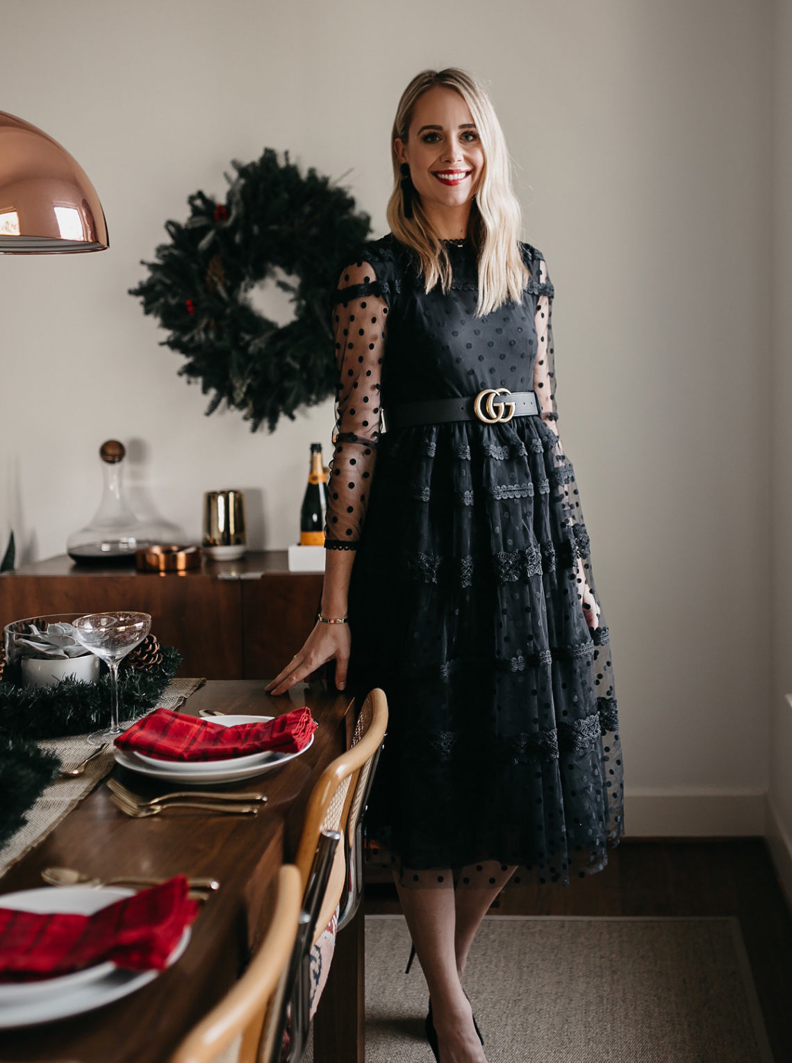 51b9a979301 Fashion Jackson Holiday Christmas Tablescape Rachel Parcell Black Lace Dress  Gucci Belt