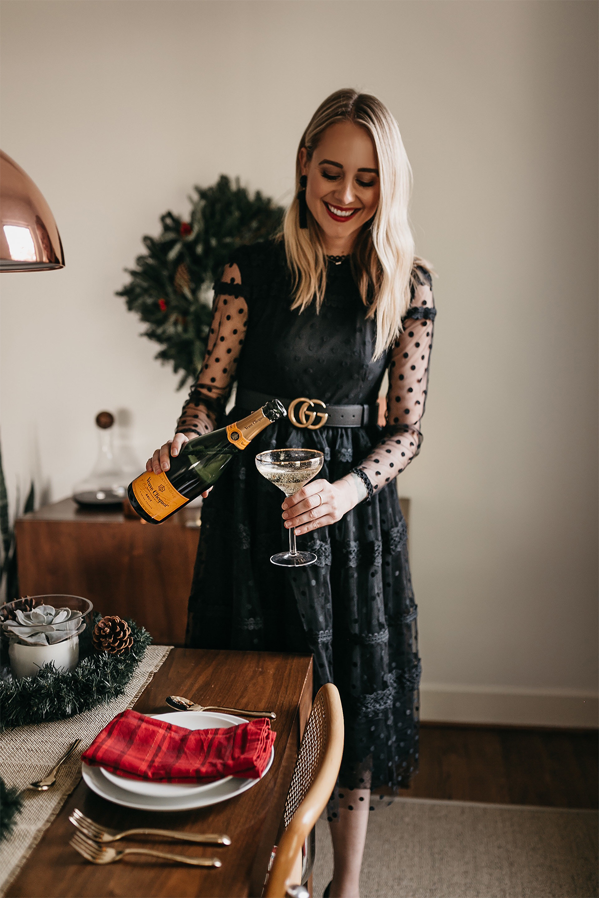Fashion Jackson Holiday Christmas Tablescape Rachel Parcell Black Lace Dress Gucci Belt Veuve Clicquot Champagne 1