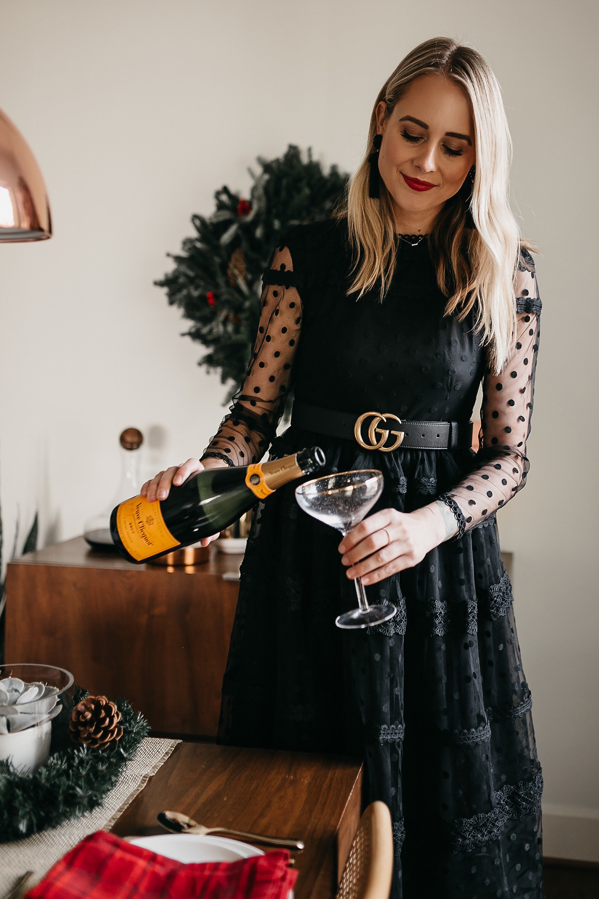 Fashion Jackson Holiday Christmas Tablescape Rachel Parcell Black Lace Dress Gucci Belt Veuve Clicquot Champagne